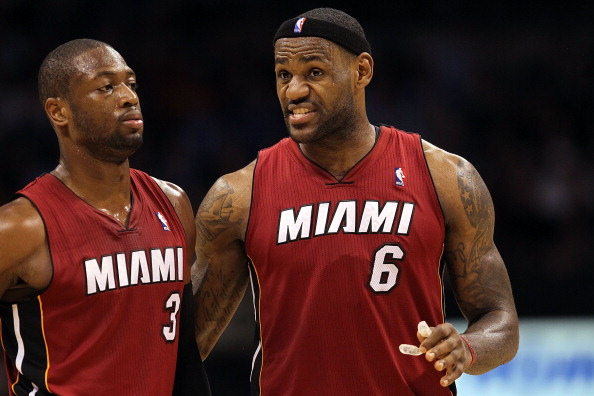 OKLAHOMA CITY, OK - JANUARY 30:  Forward LeBron James #6 and Dwyane Wade #3 of the Miami Heat during play against the Oklahoma City Thunder at Ford Center on January 30, 2011 in Oklahoma City, Oklahoma.  NOTE TO USER: User expressly acknowledges and agree