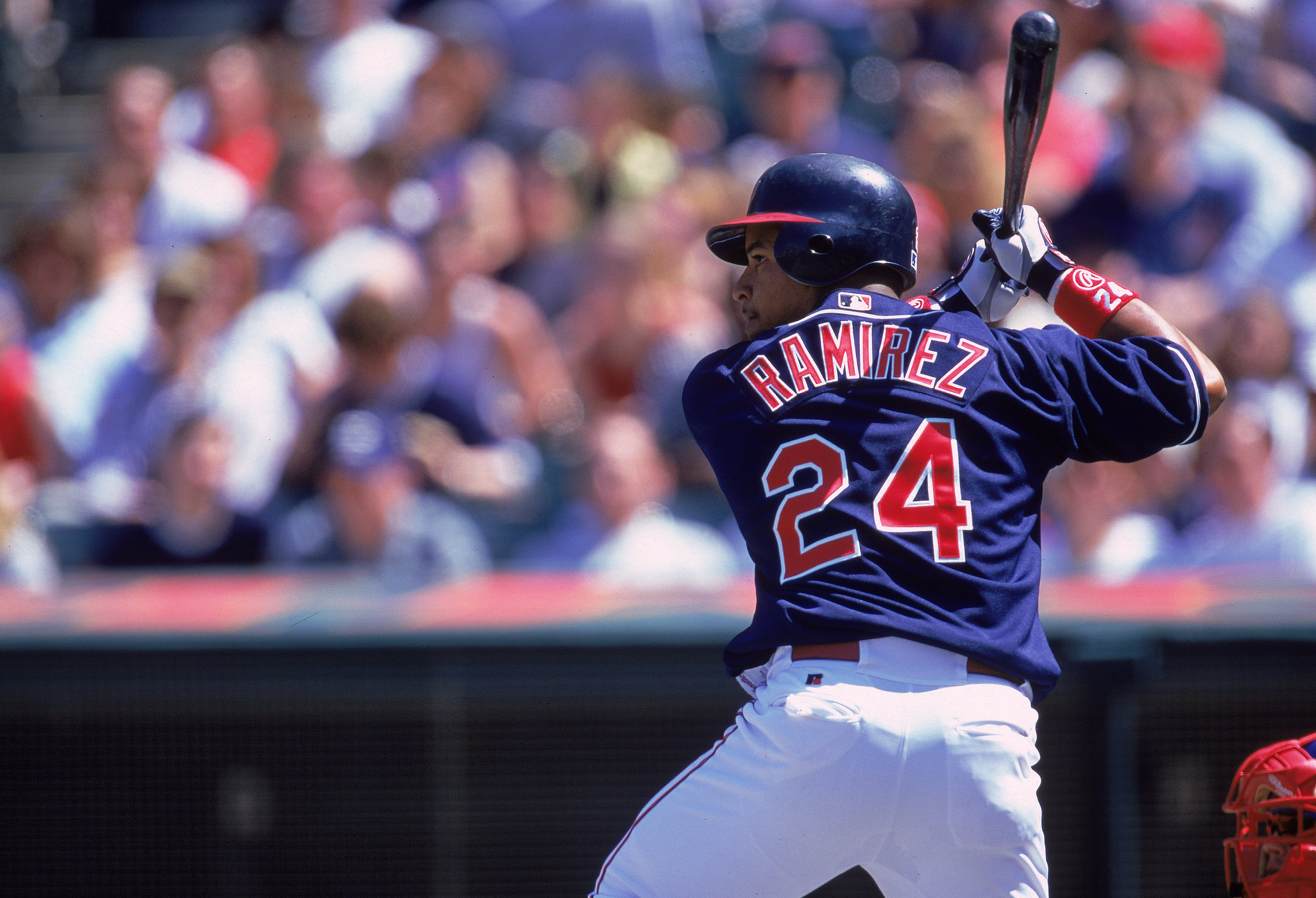 15 Apr 2000: Manny Ramirez #24 of the Cleveland Indians stands ready at bat during the game against the Texas Rangers at the Jacobs Field in Cleveland, Ohio. The Rangers defeated the Indians 6-4. Mandatory Credit: Harry How  /Allsport