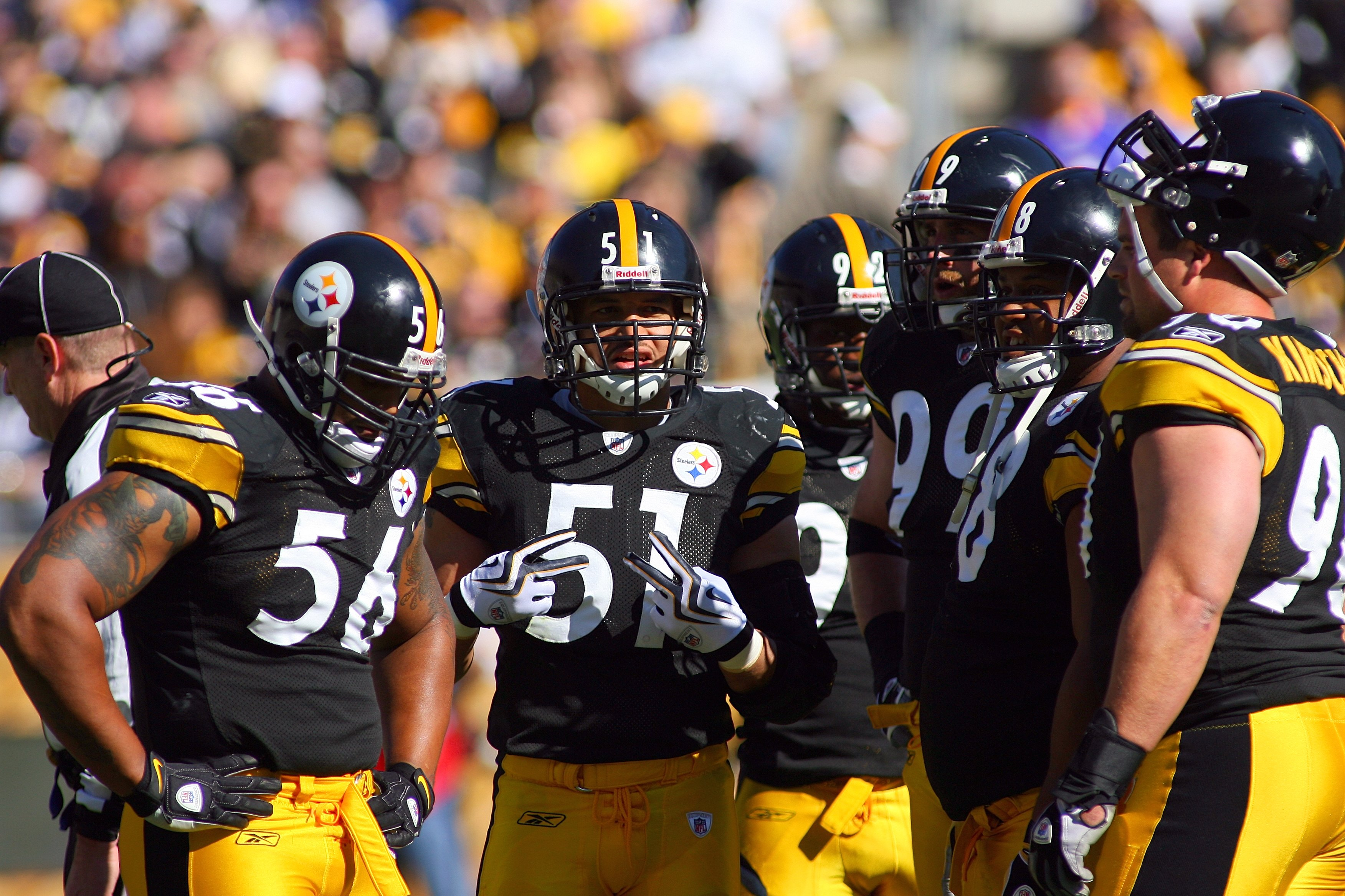 a1289988a57 PITTSBURGH - OCTOBER 25  James Farrior  51 of the Pittsburgh Steelers looks  on with