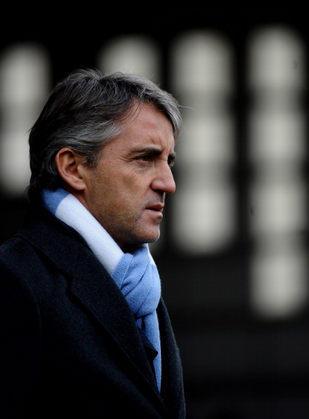 NOTTINGHAM, ENGLAND - JANUARY 30:  Manchester City Manager Roberto Mancini looks on prior to the FA Cup sponsored by E.On 4th Round match between Notts County and Manchester City at Meadow Lane on January 30, 2011 in Nottingham, England.  (Photo by Lauren