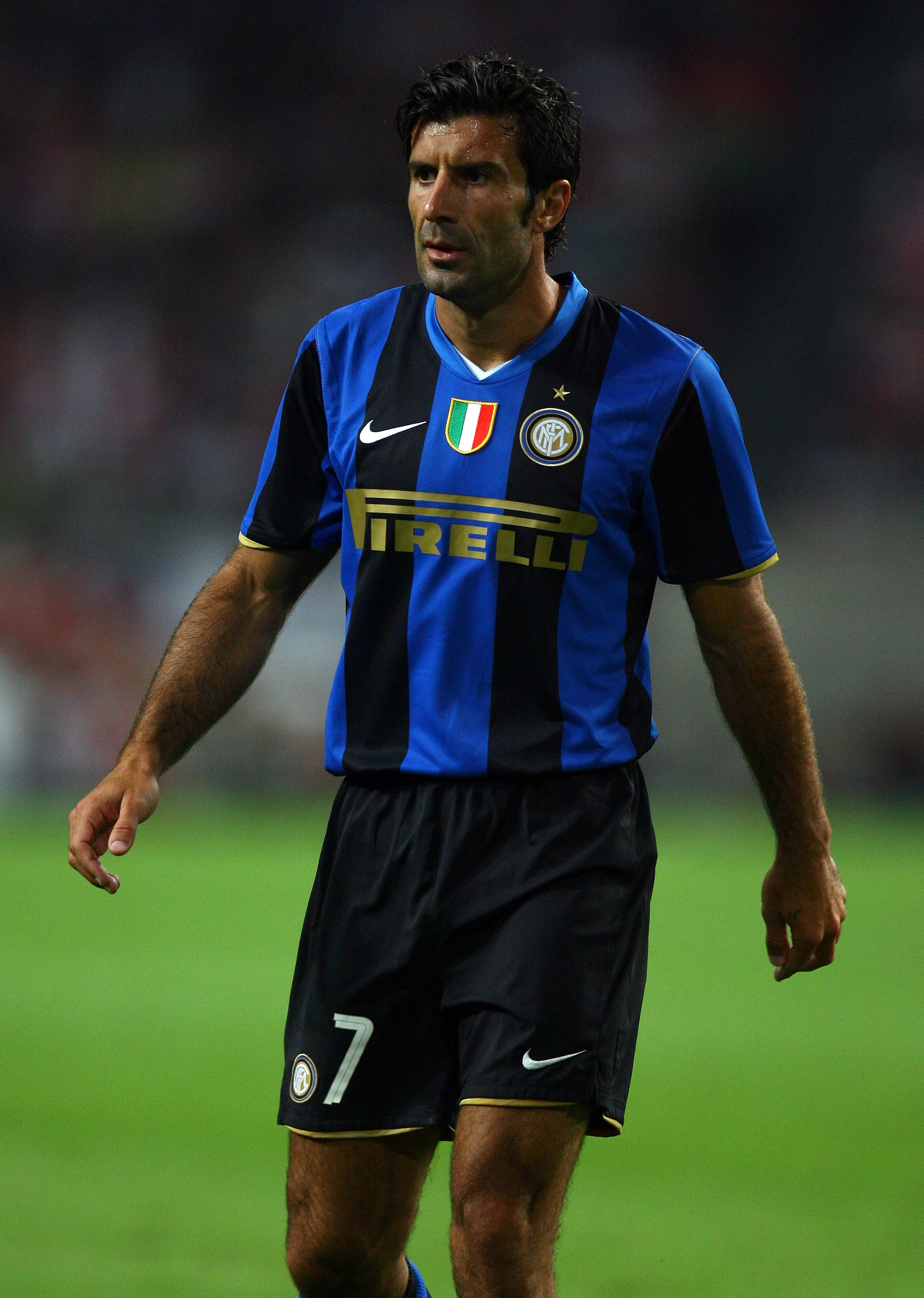 AMSTERDAM, NETHERLANDS - AUGUST 09:  Luis Figo of Inter Milan in action during the Amsterdam Tournament match between Ajax and Inter Milan at the Amsterdam Arena on August 9, 2008 in Amsterdam, Netherlands.  (Photo by Ian Walton/Getty Images)