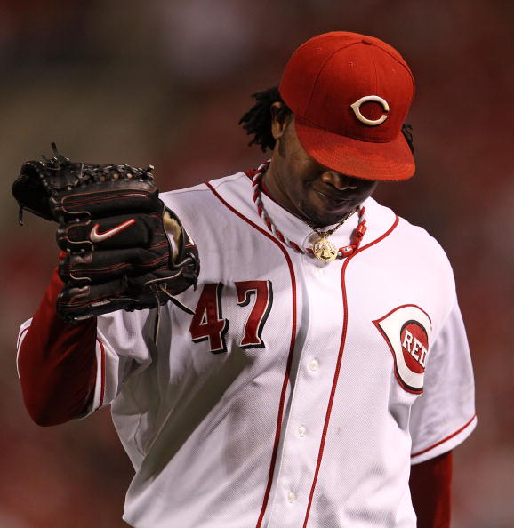 CINCINNATI - OCTOBER 10: Starting pitcher Johnny Cueto #47 of the Cincinnati Reds walks back to the dugout after the 5th inning against the Philadelphia Phillies during game 3 of the NLDS at Great American Ball Park on October 10, 2010 in Cincinnati, Ohio