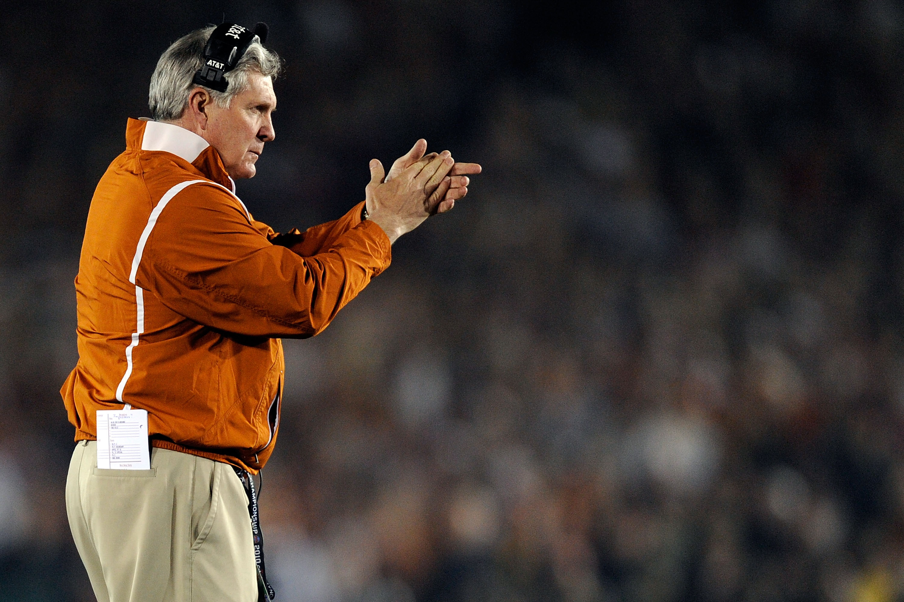 PASADENA, CA - JANUARY 07:  Head Coach Mack Brown of the Texas Longhorns stands on the sidelines during the Citi BCS National Championship game against the Alabama Crimson Tide at the Rose Bowl on January 7, 2010 in Pasadena, California.  (Photo by Kevork