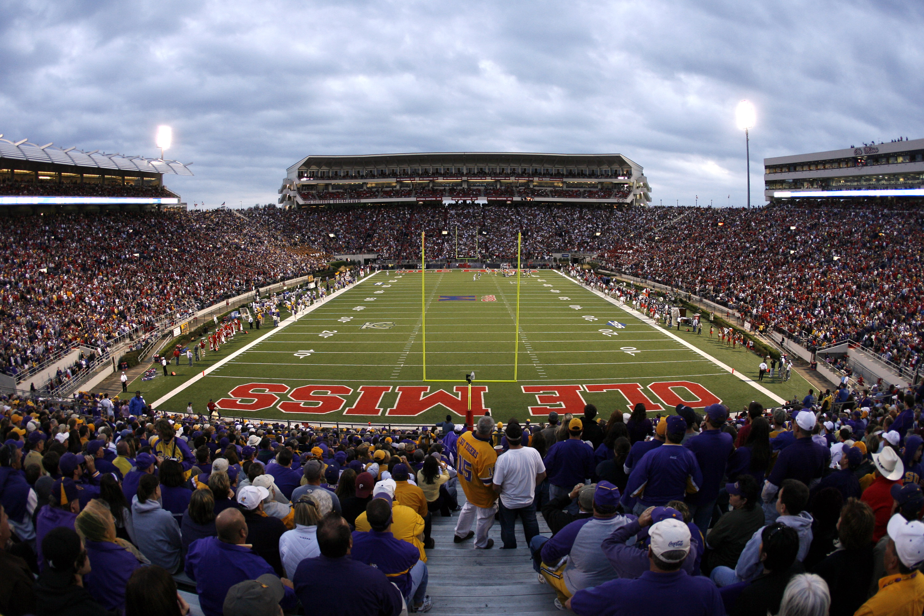 OXFORD, MS - NOVEMBER 17:  Fans watch the game between the LSU Tigers and the Mississippi Rebels at Vaught-Hemingway Stadium at Hollingsworth Field November 17, 2007 in Oxford, Mississippi. LSU beat Mississippi 41-24.  (Photo by Joe Murphy/Getty Images)
