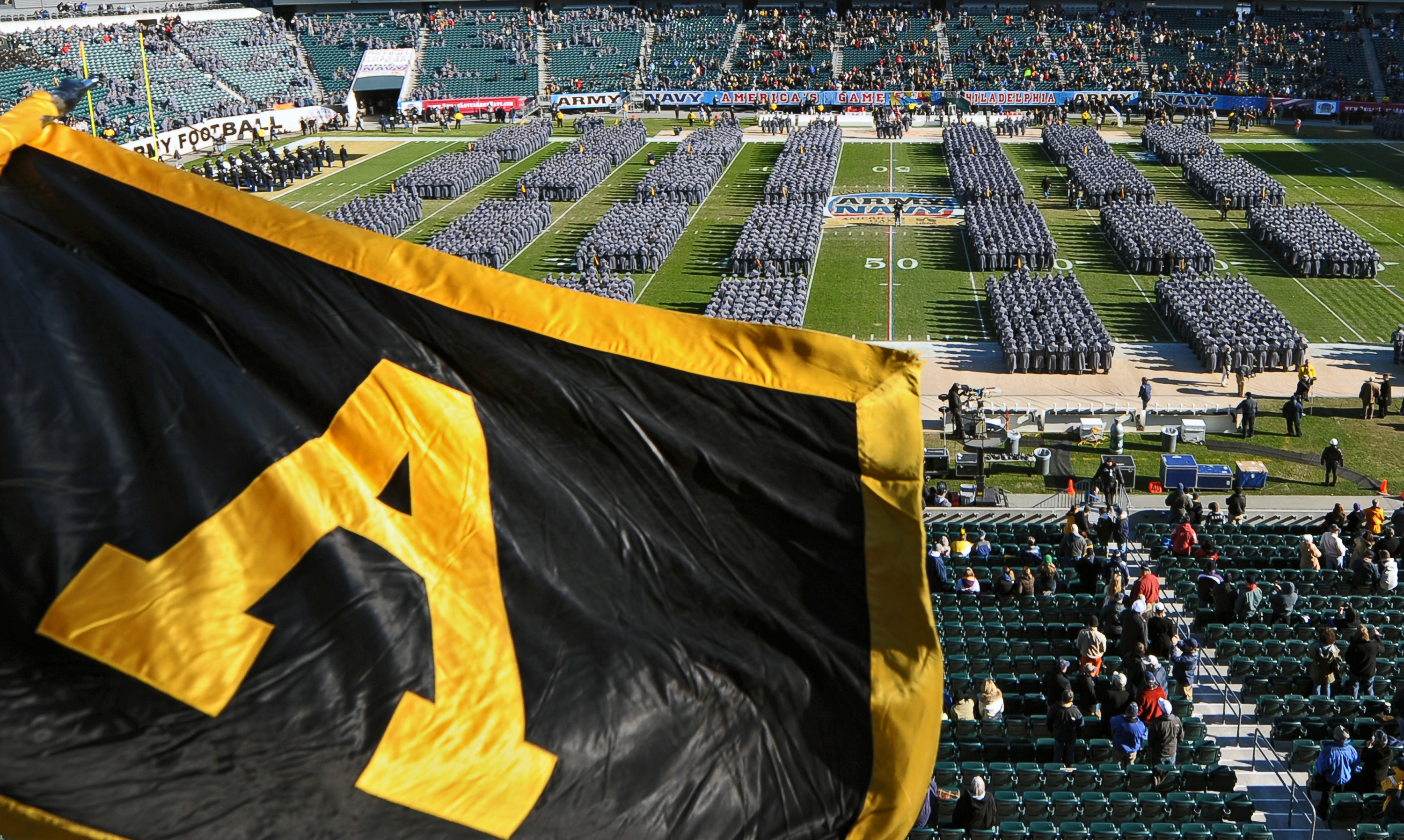 PHILADELPHIA - DECEMBER 12: Army Cadets march onto the field before the game between the Army Black Nights and Navy Midshipmen on December 12, 2009 at Lincoln Financial Field in Philadelphia, Pennsylvania. (Photo by Drew Hallowell/Getty Images)