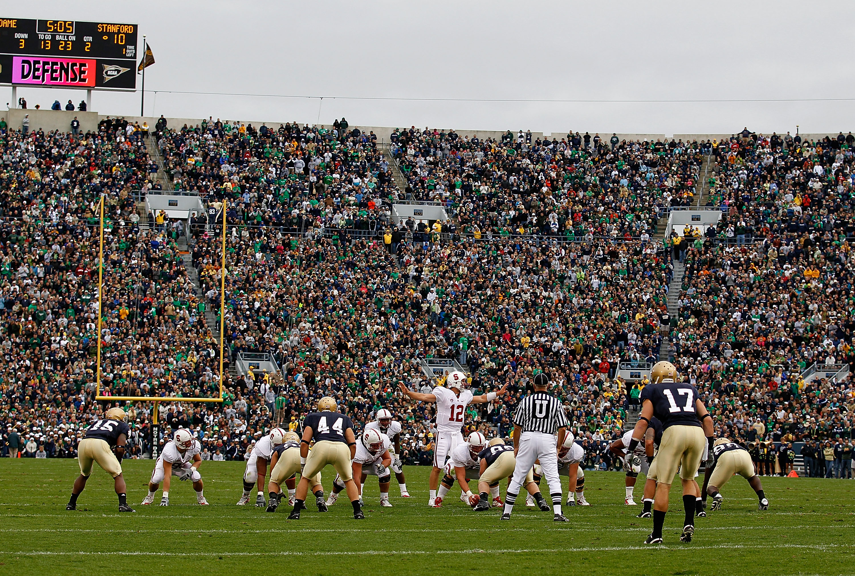 SOUTH BEND, IN - SEPTEMBER 25: Andrew Luck #12 of the Stanford Cardinal calls a play against the Notre Dame Fighting Irish at Notre Dame Stadium on September 25, 2010 in South Bend, Indiana. Stanford defeated Notre Dame 37-14. (Photo by Jonathan Daniel/Ge