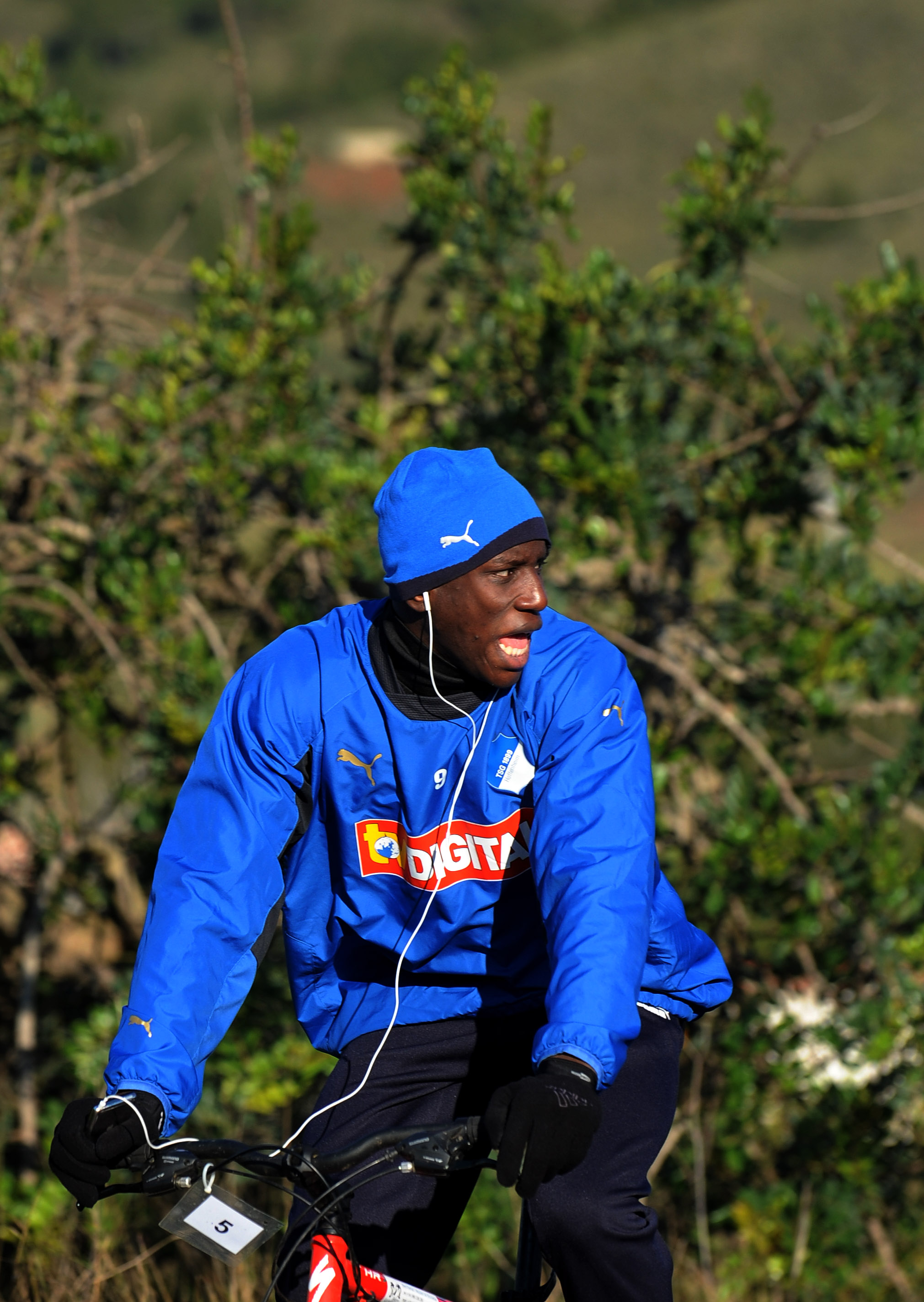 LA MANGA, SPAIN - JANUARY 12:  Demba Ba of 1899 Hoffenheim cycles during day four of his team's training camp on January 12, 2009 in La Manga, Spain.  (Photo by Jasper Juinen/Getty Images)