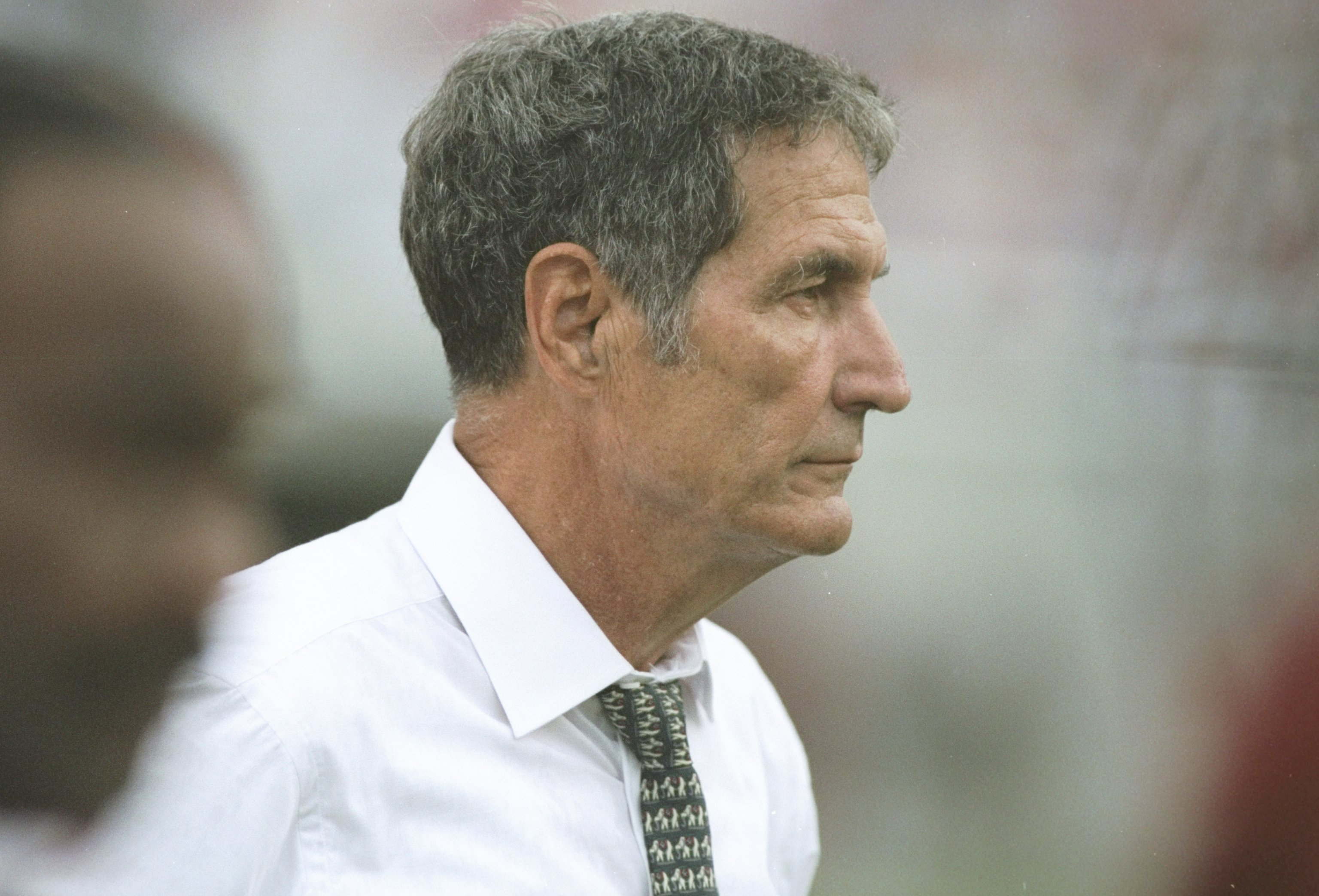 16 Sep 1995: Coach Gene Stallings of the Alabama Crimson Tide watches his players during a game against the Arkansas Razorbacks in Tucsawosa, Alabama. Arkansas won the game 20-19.