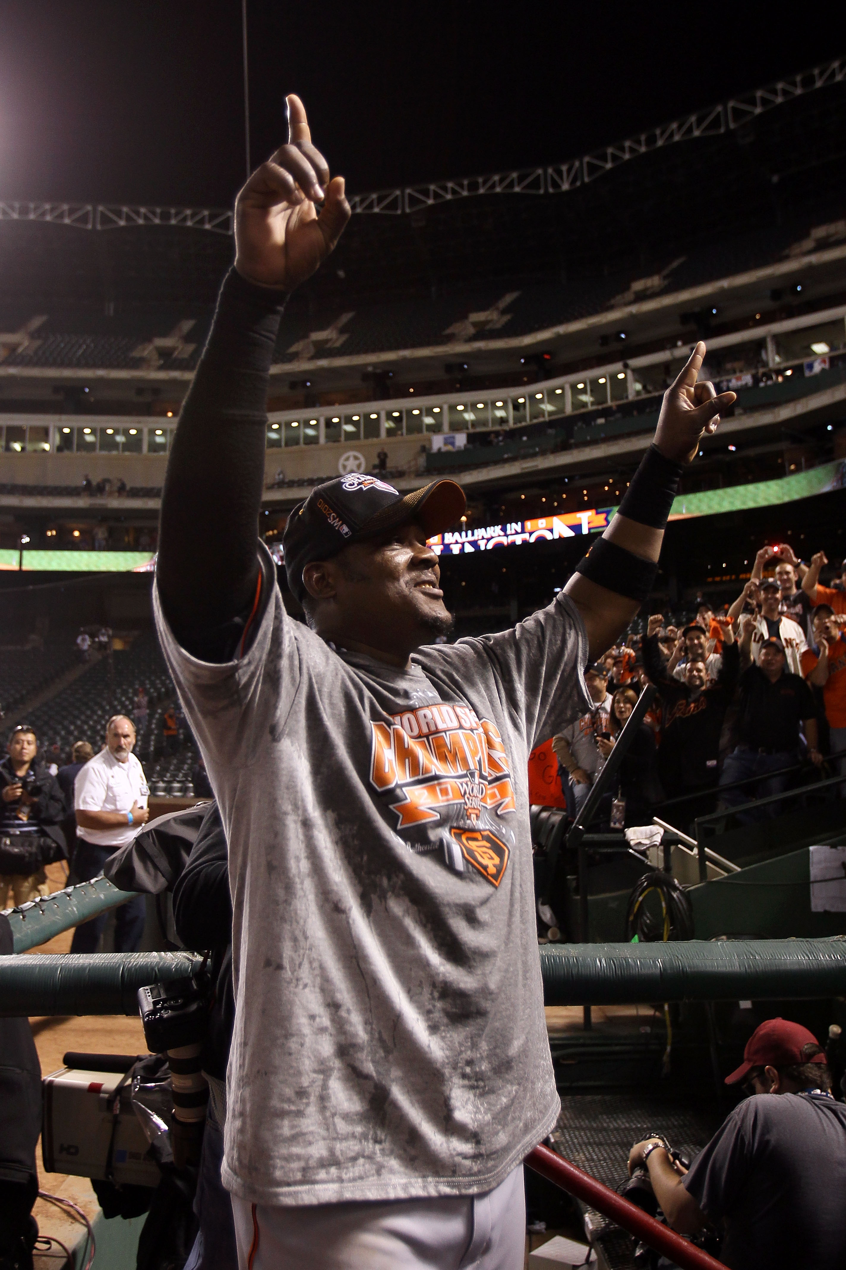 ARLINGTON, TX - NOVEMBER 01:  Juan Uribe #5 of the San Francisco Giants celebrates after the Giants won 3-1 against the Texas Rangers in Game Five of the 2010 MLB World Series at Rangers Ballpark in Arlington on November 1, 2010 in Arlington, Texas.  (Pho
