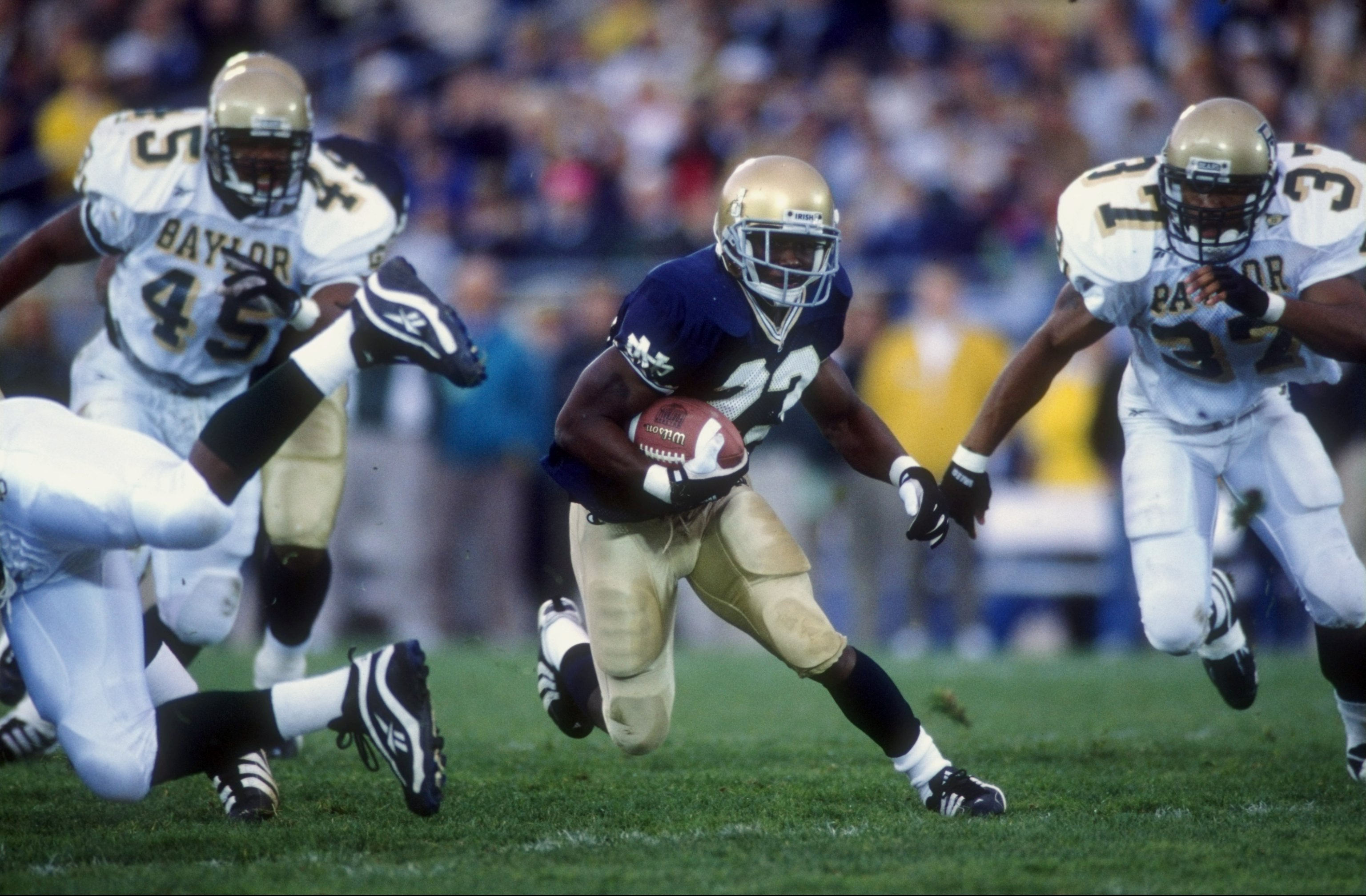 31 Oct 1998:  Tailback Autry Denson #23 of the Notre Dame Fighting Irish in action during the game against the Baylor Bears at the Notre Dame Stadium in South Bend, Indiana. The Fighting Irish defeated the Bears 27-3. Mandatory Credit: Jonathan Daniel  /A