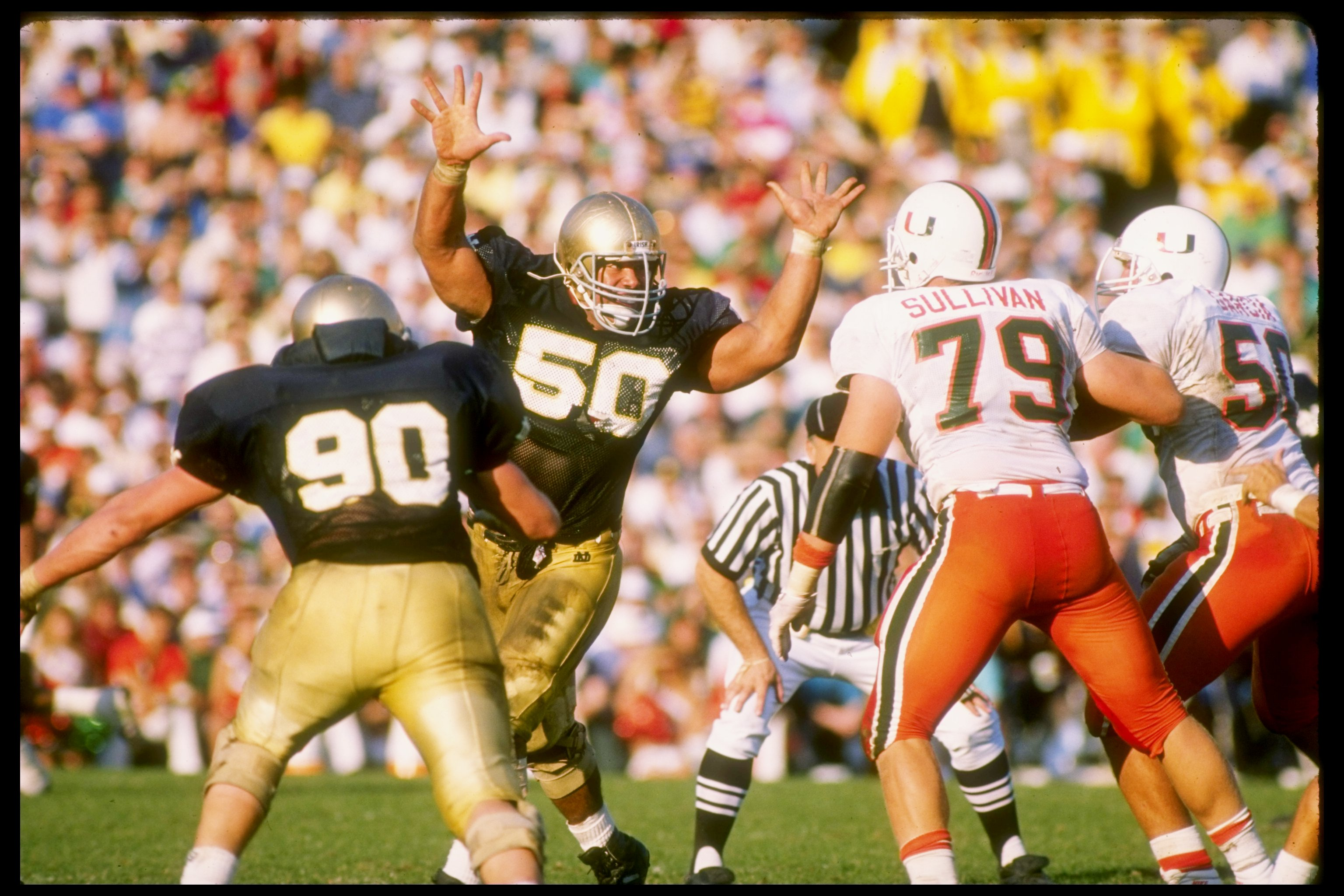 15 Oct 1988:  Nose tackle Chris Zorich of the Notre Dame Fighting Irish puts the pressure on during a game against the Miami Hurricanes at Notre Dame Stadium in South Bend, Indiana.  Notre Dame won the game 31-30. Mandatory Credit: Jonathan Daniel  /Allsp