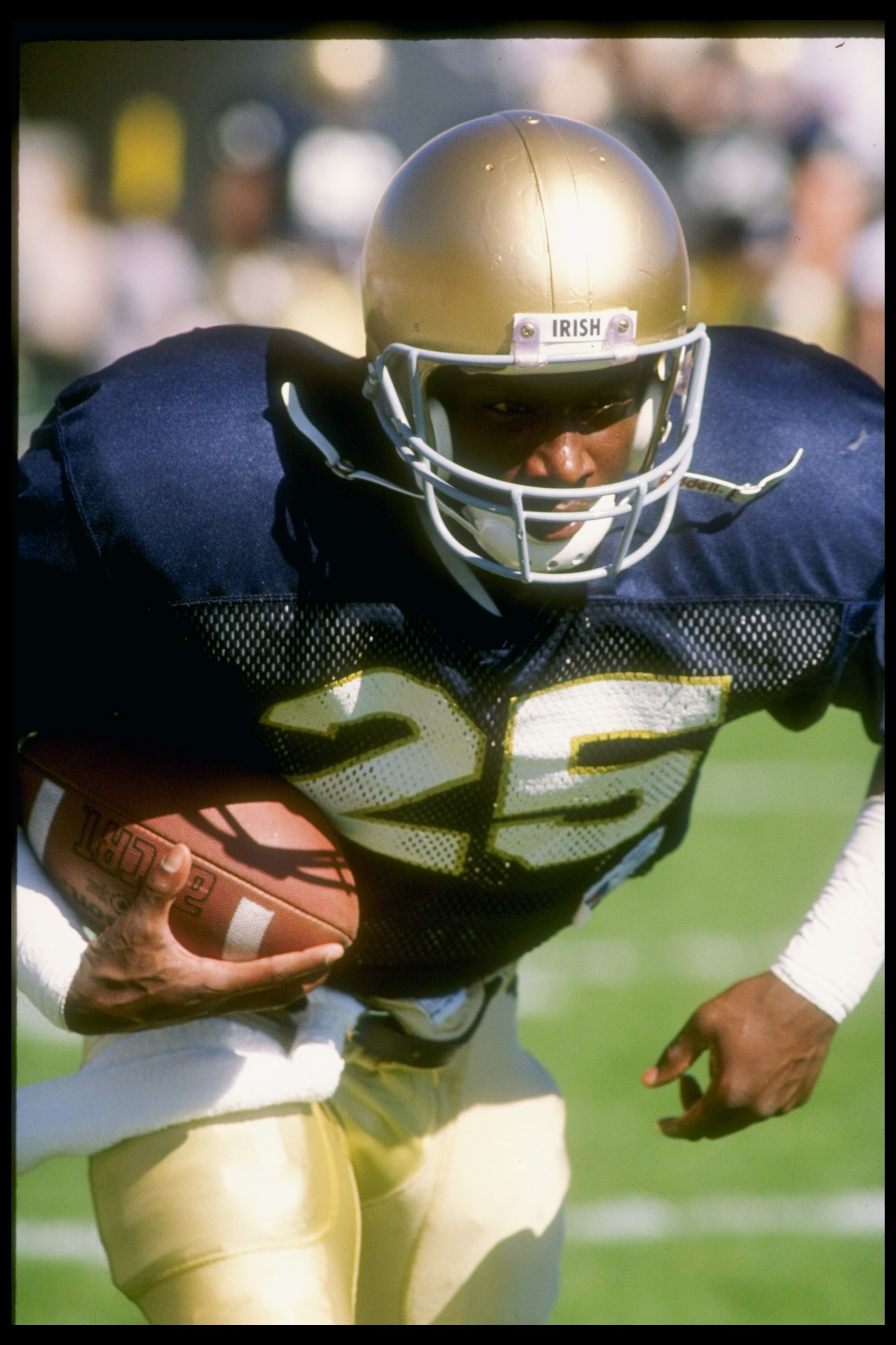 6 Oct 1990:  Flanker Raghib Ismail of the Notre Dame Fighting Irish runs down the field during a game against the Stanford Cardinal at Notre Dame Stadium in South Bend, Indiana.  Notre Dame won the game 36-31. Mandatory Credit: Tony Duffy  /Allsport