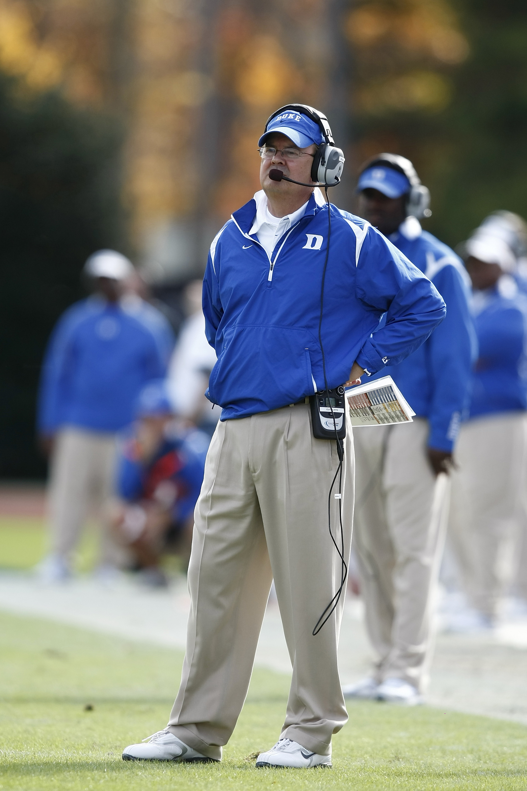DURHAM, NC - NOVEMBER 14:  Head coach David Cutcliffe of the Duke Blue Devils looks on against the Georgia Tech Yellow Jackets at Wallace Wade Stadium on November 14, 2009 in Durham, North Carolina. (Photo by Joe Robbins/Getty Images)