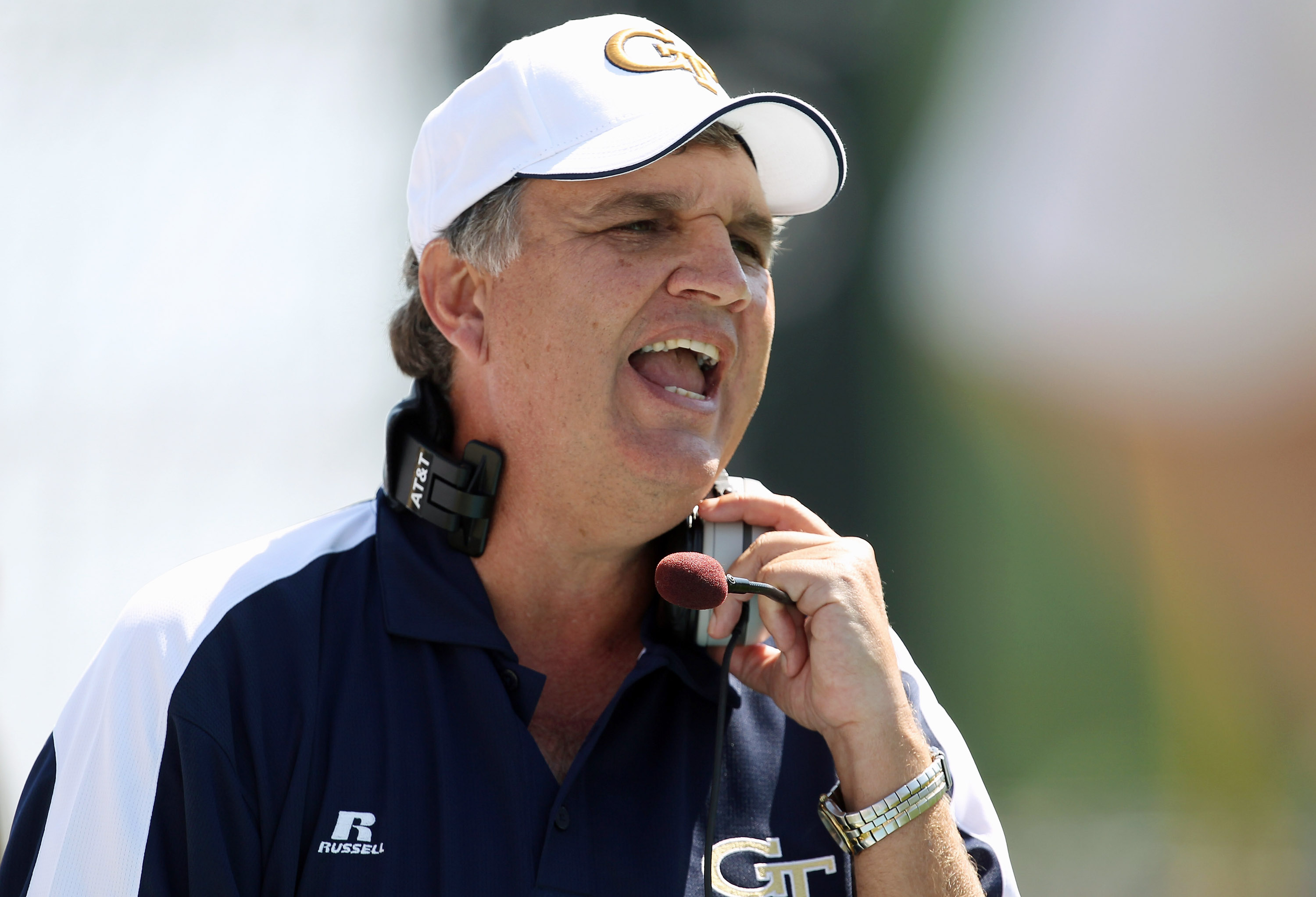 CHAPEL HILL, NC - SEPTEMBER 18:  Head coach Paul Johnson of the Georgia Tech Yellow Jackets watches on against the North Carolina Tar Heels during their game at Kenan Stadium on September 18, 2010 in Chapel Hill, North Carolina.  (Photo by Streeter Lecka/