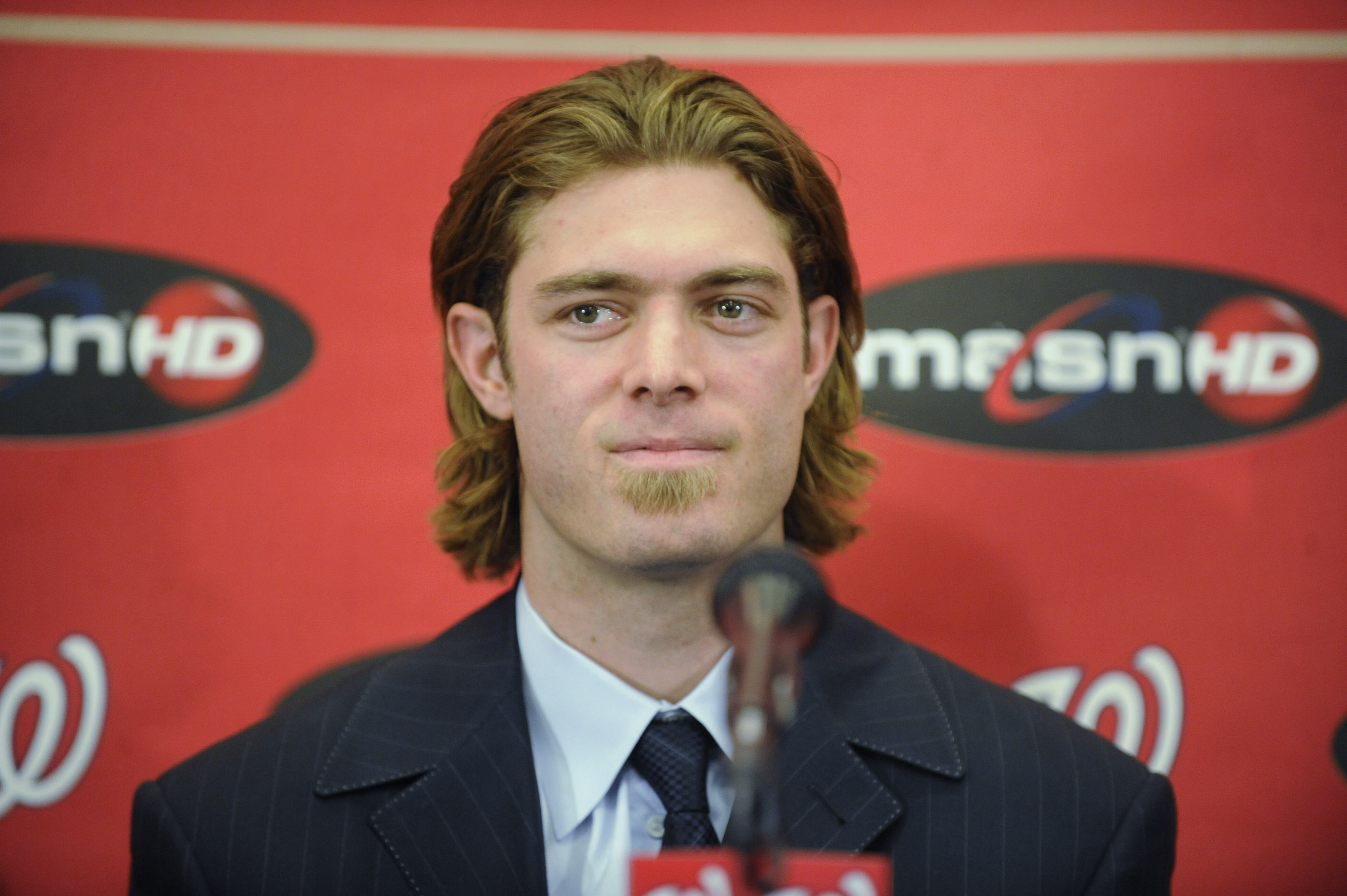 WASHINGTON, DC - DECEMBER 15:  Jayson Werth #28 of the Washington Nationals speaks as he is introduced to the media on December 15, 2010 at Nationals Park in Washington, DC.   (Photo by Mitchell Layton/Getty Images)