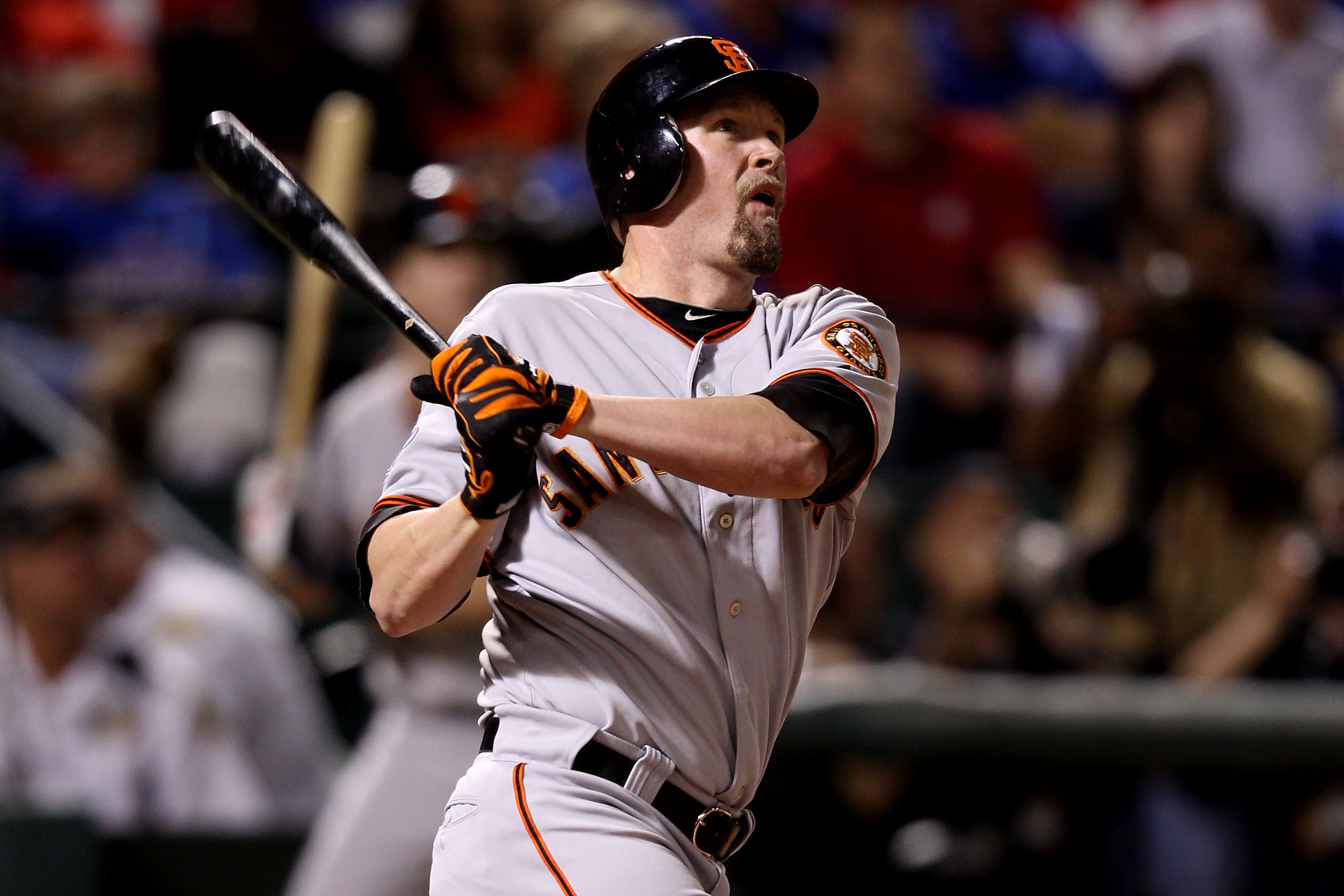 ARLINGTON, TX - OCTOBER 31:  Aubrey Huff #17 of the San Francisco Giants hits a 2-run home run in the top of the third inning against the Texas Rangers in Game Four of the 2010 MLB World Series at Rangers Ballpark in Arlington on October 31, 2010 in Arlin