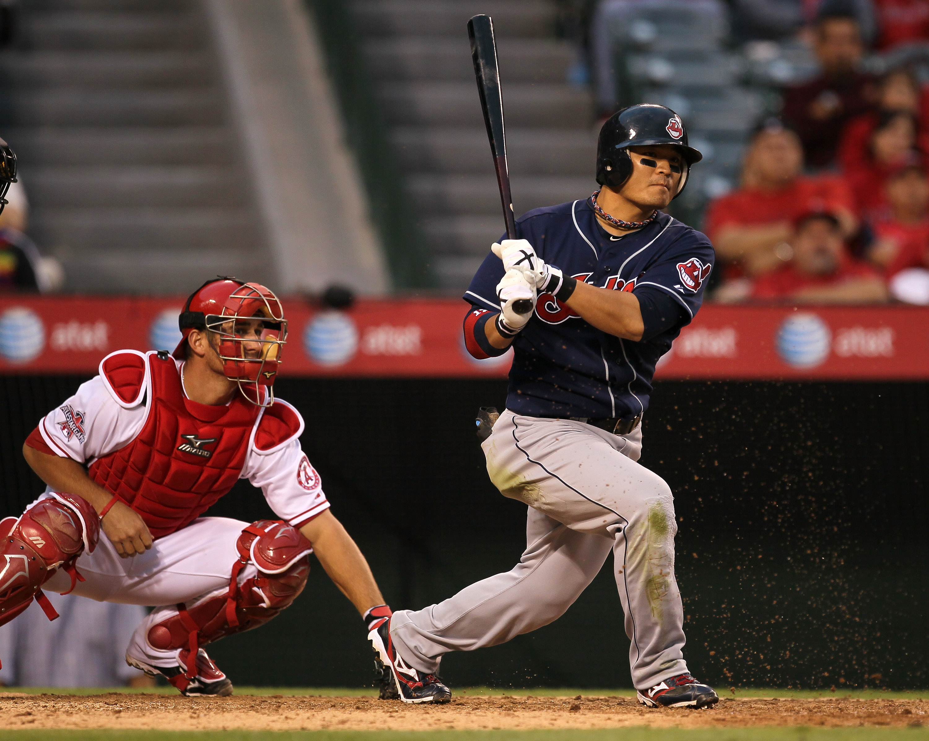 ANAHEIM, CA - SEPTEMBER 08:  Shin-Soo Choo #17 of the Cleveland Indian bats against the Los Angeles Angels of Anaheim on September 8, 2010 at Angel Stadium in Anaheim, California.   The Angels won 4-3 in 16 innings.  (Photo by Stephen Dunn/Getty Images)