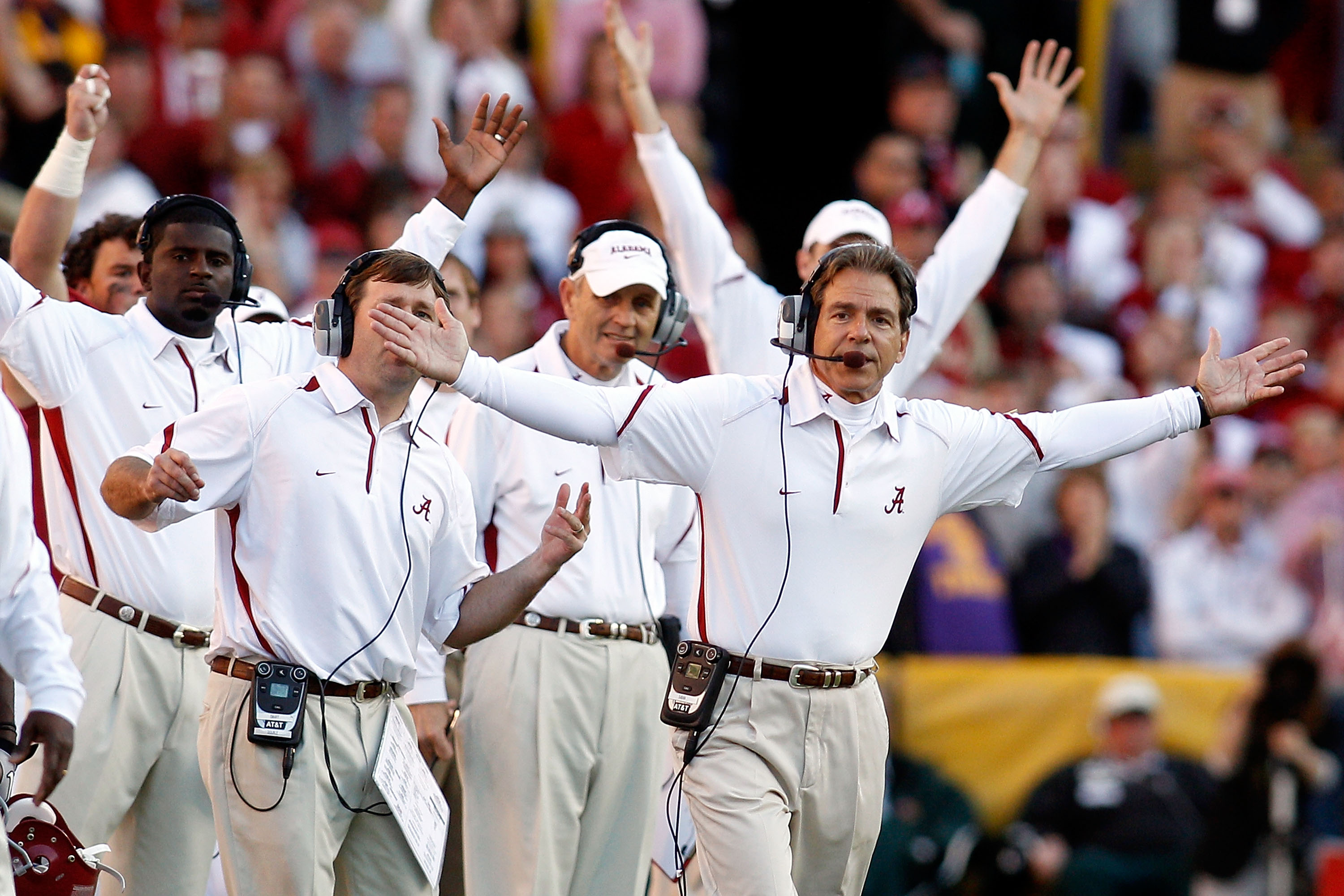 BATON ROUGE, LA - NOVEMBER 06:  Head coach Nick Saban of the Alabama Crimson Tide reacts to a play during the game against the Louisiana State University Tigers at Tiger Stadium on November 6, 2010 in Baton Rouge, Louisiana. The Tigers defeated the Crimso