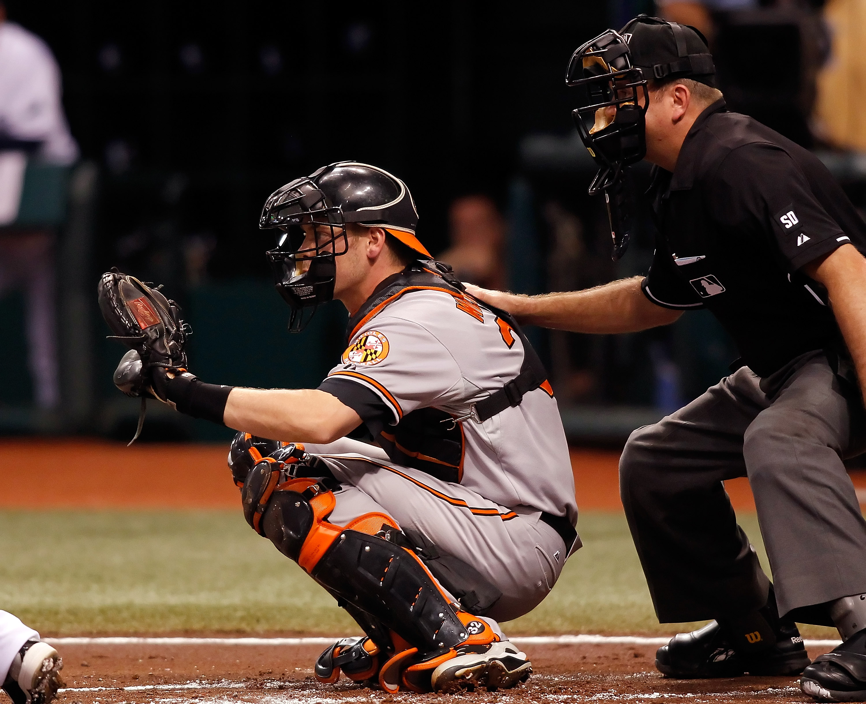 ST PETERSBURG, FL - SEPTEMBER 27:  Catcher Matt Wieters #32 of the Baltimore Orioles kneels behind homeplate against the Tampa Bay Rays during the game at Tropicana Field on September 27, 2010 in St. Petersburg, Florida.  (Photo by J. Meric/Getty Images)
