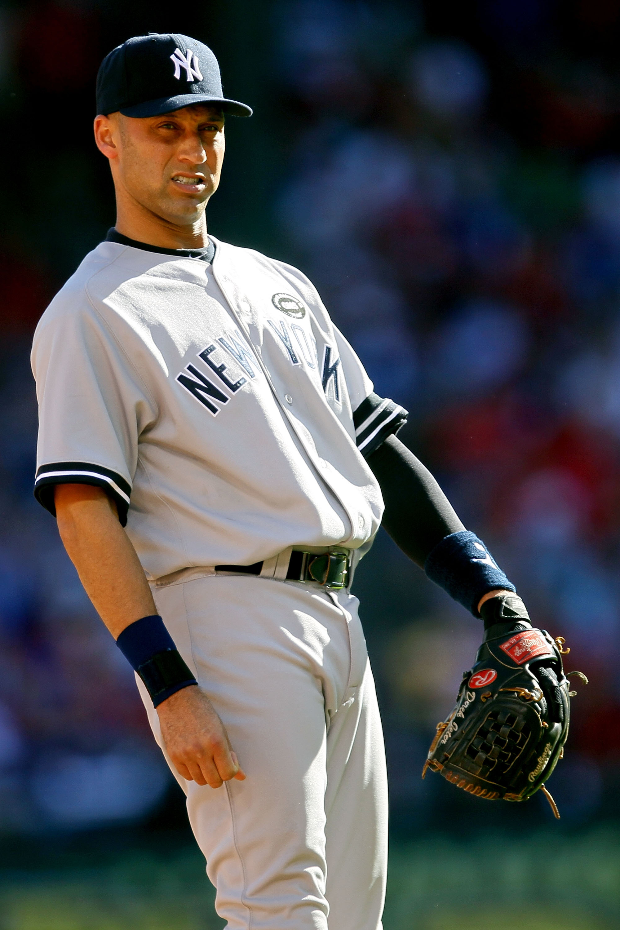 ARLINGTON, TX - OCTOBER 16:  Derek Jeter #2 of the New York Yankees reacts against the Texas Rangers in Game Two of the ALCS during the 2010 MLB Playoffs at Rangers Ballpark in Arlington on October 16, 2010 in Arlington, Texas.  (Photo by Stephen Dunn/Get
