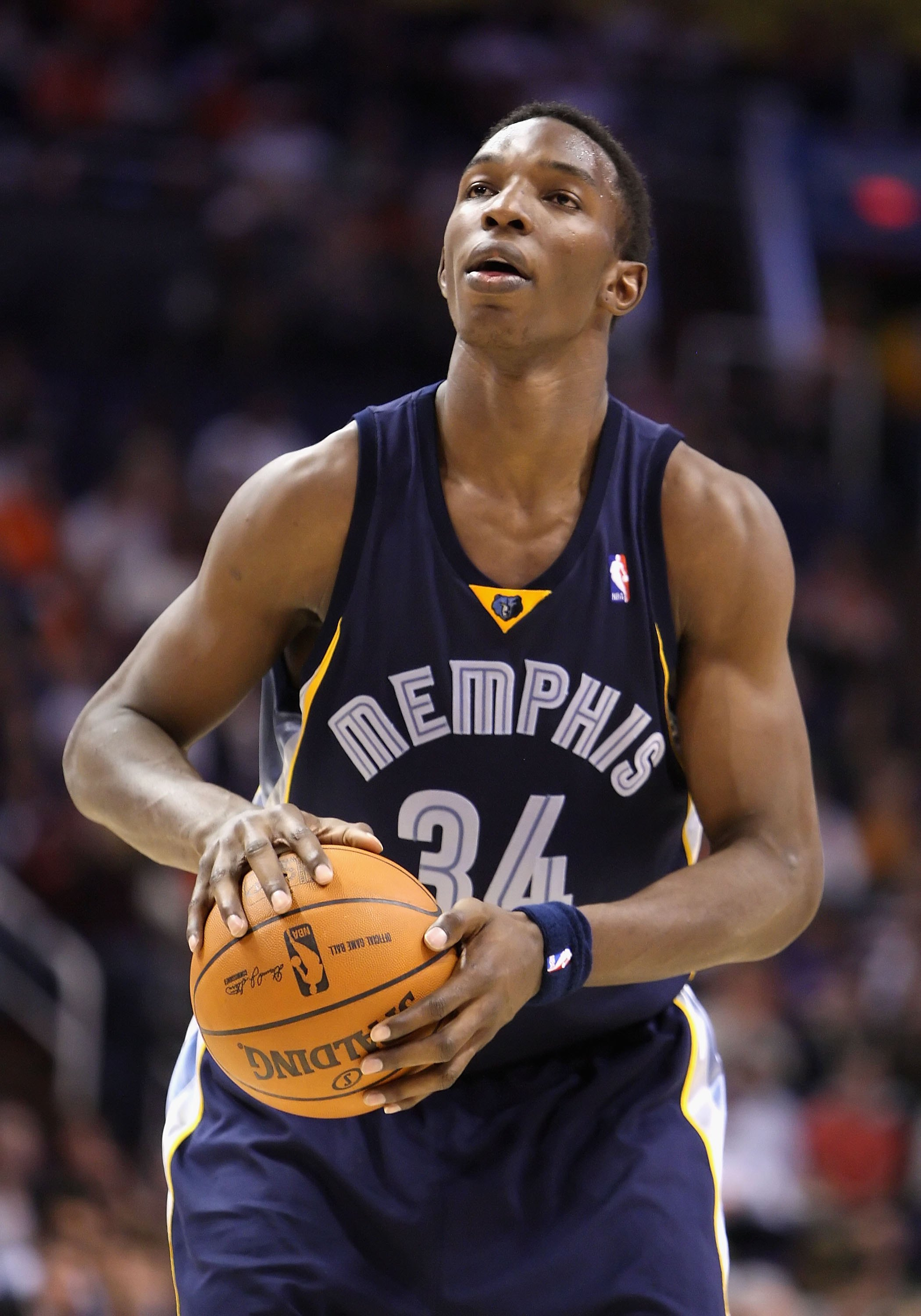 PHOENIX - NOVEMBER 25:  Hasheem Thabeet #34 of the Memphis Grizzlies shoots a free throw shot during the NBA game against the Phoenix Suns at US Airways Center on November 25, 2009 in Phoenix, Arizona.  The Suns defeated the Grizzlies 126-111.  NOTE TO US