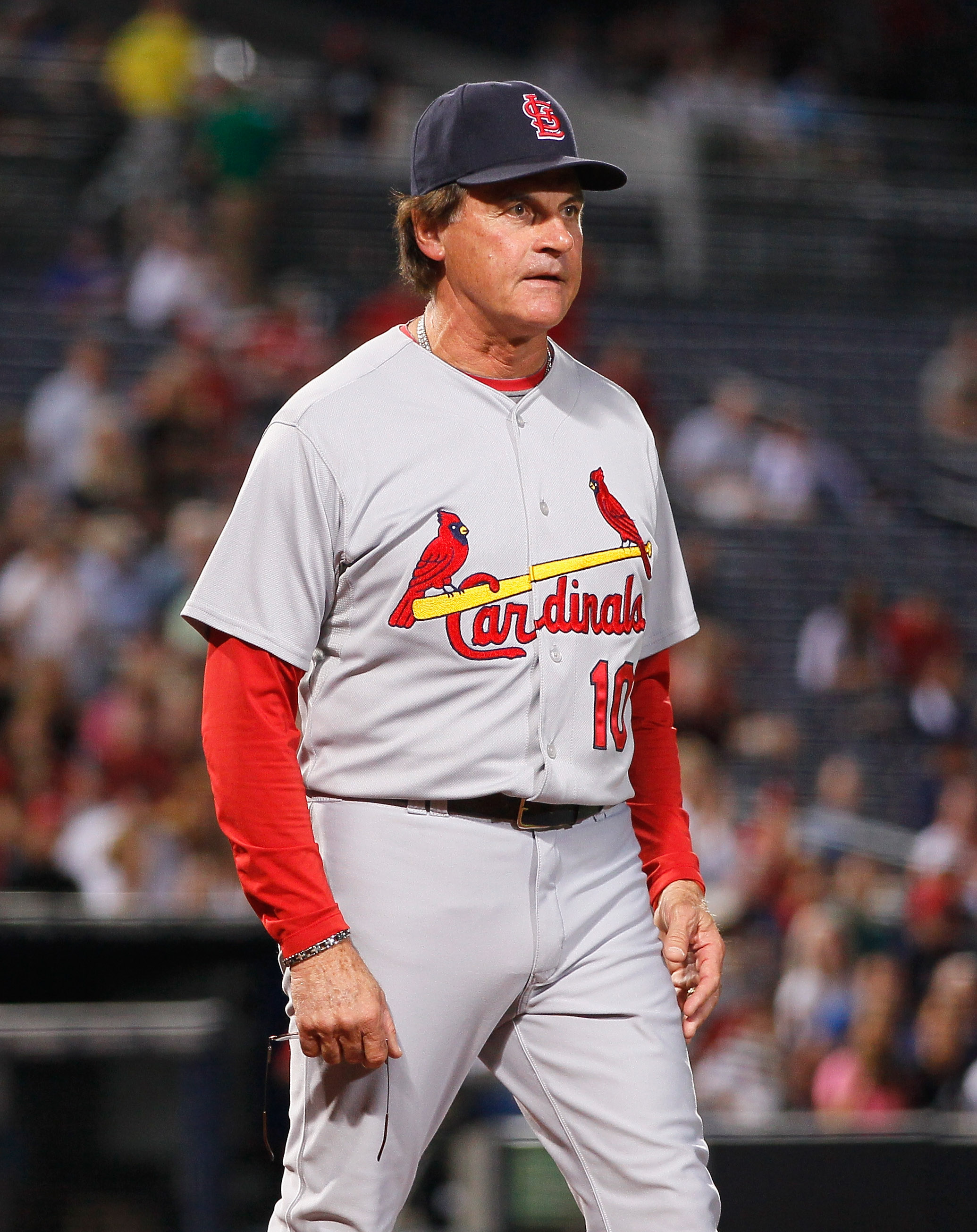ATLANTA - SEPTEMBER 09:  Manager Tony LaRussa of the St. Louis Cardinals against the Atlanta Braves at Turner Field on September 9, 2010 in Atlanta, Georgia.  (Photo by Kevin C. Cox/Getty Images)
