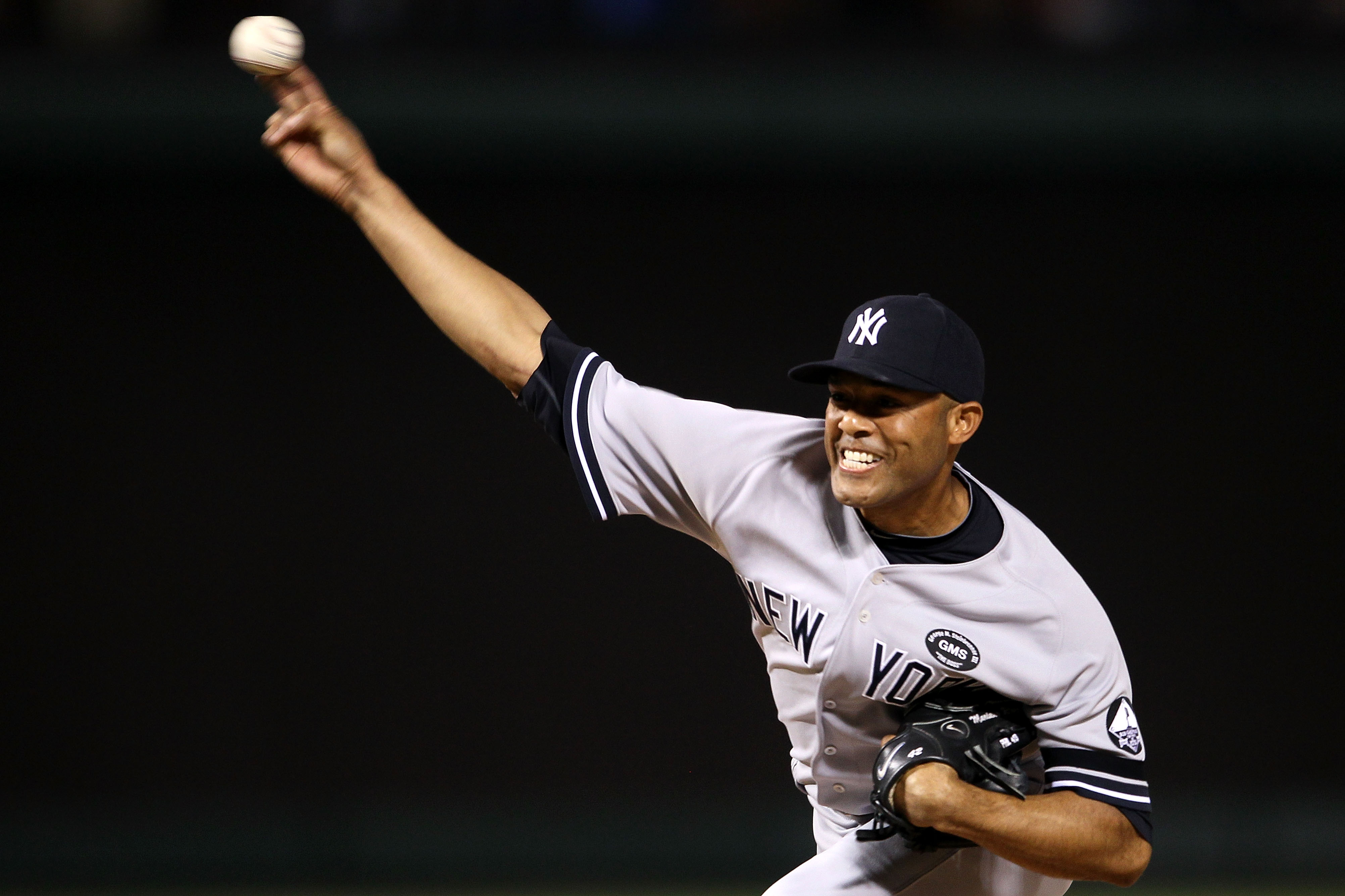 ARLINGTON, TX - OCTOBER 22:  Mariano Rivera #42 of the New York Yankees throws a pitch against the Texas Rangers in Game Six of the ALCS during the 2010 MLB Playoffs at Rangers Ballpark in Arlington on October 22, 2010 in Arlington, Texas.  (Photo by Elsa