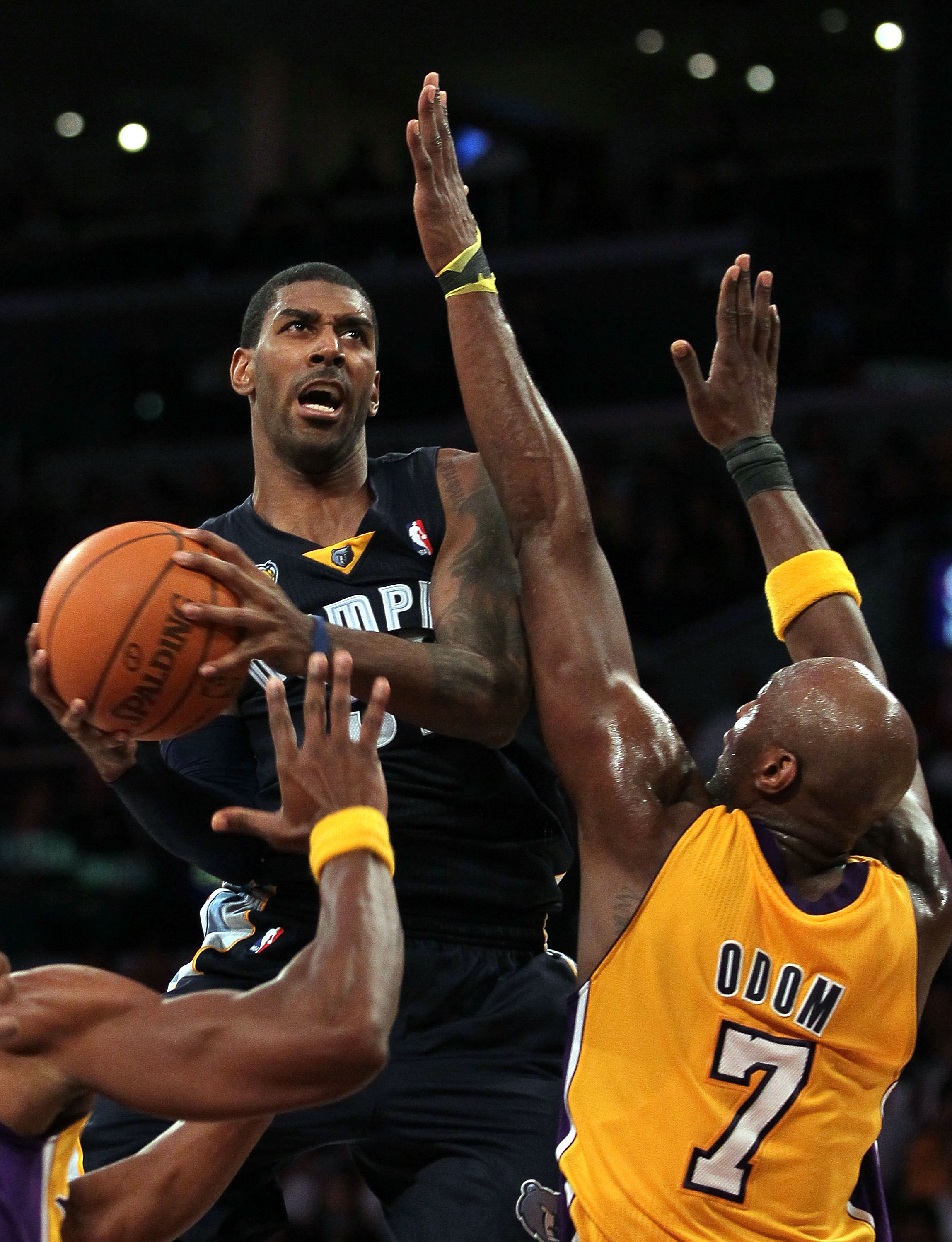 LOS ANGELES, CA - NOVEMBER 02:  O.J. Mayo #32 of the Memphis Grizzlies attempts a lay up against the Los Angeles Lakers during the game at Staples Center on November 2, 2010 in Los Angeles, California. The Lakers defeated the Grizzlies 124-105. NOTE TO US