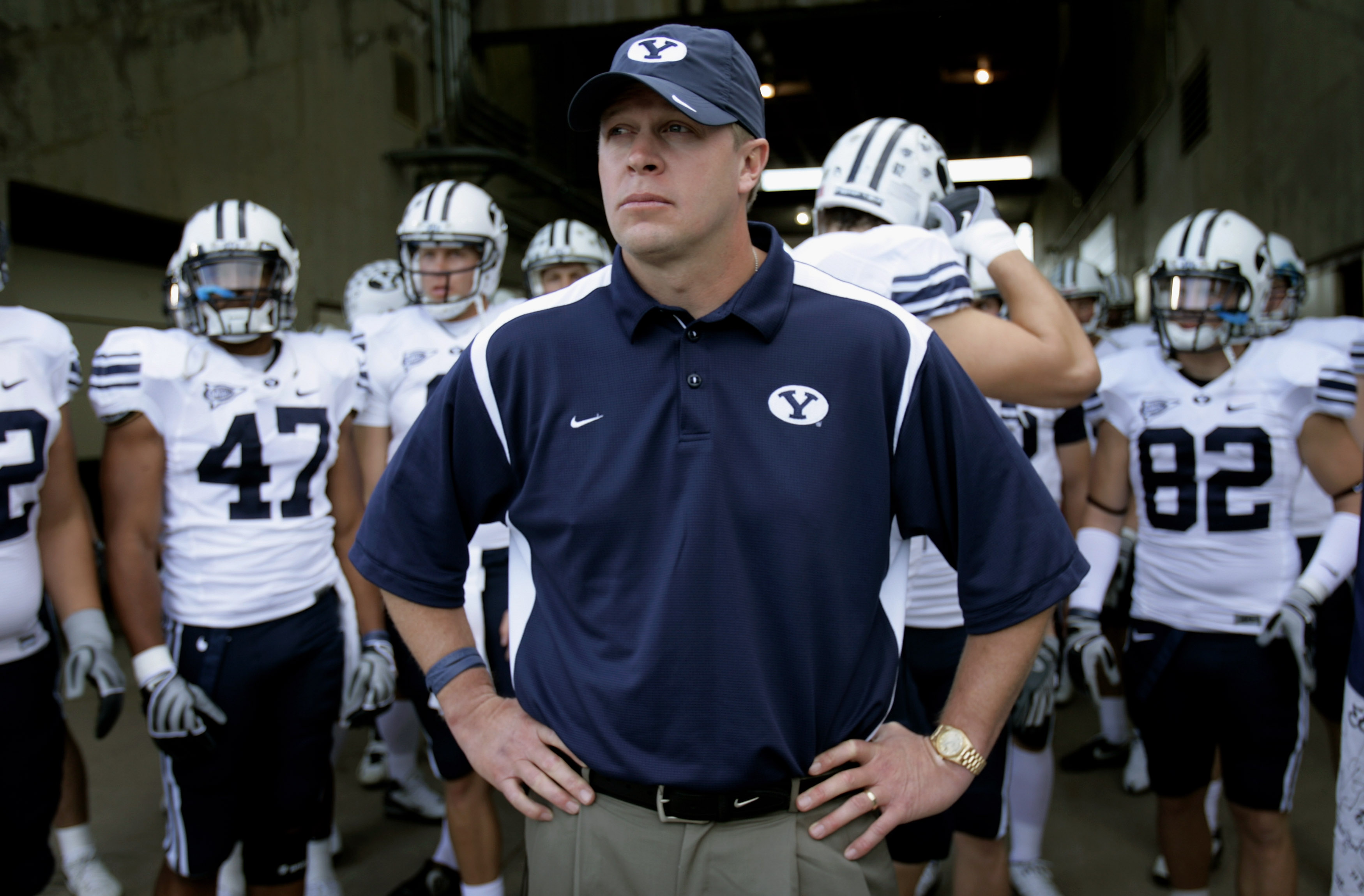 FORT COLLINS, CO - NOVEMBER 01:  Head coach Bronco Mendenhall of the Brigham Young Cougars prepares to lead his team onto the field to face the Colorado State Rams at Sonny Lubick Field at Hughes Stadium on November 1, 2008 in Fort Collins, Colorado. BYU