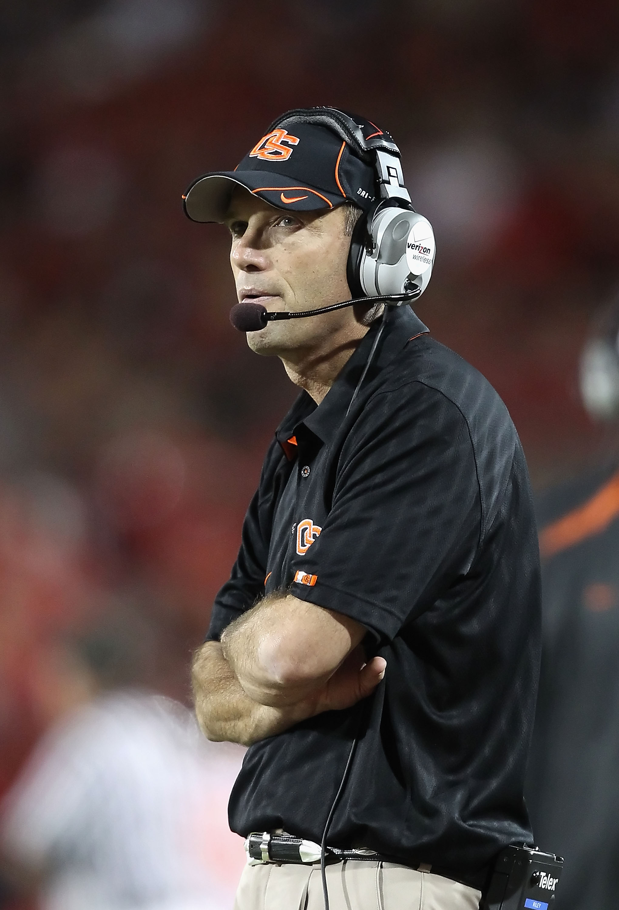 TUCSON, AZ - OCTOBER 09:  Head coach Mike Riley of the Oregon State Beavers during the college football game against the Arizona Wildcats at Arizona Stadium on October 9, 2010 in Tucson, Arizona.   The Beavers defeated the Wildcats 29-27.  (Photo by Chris