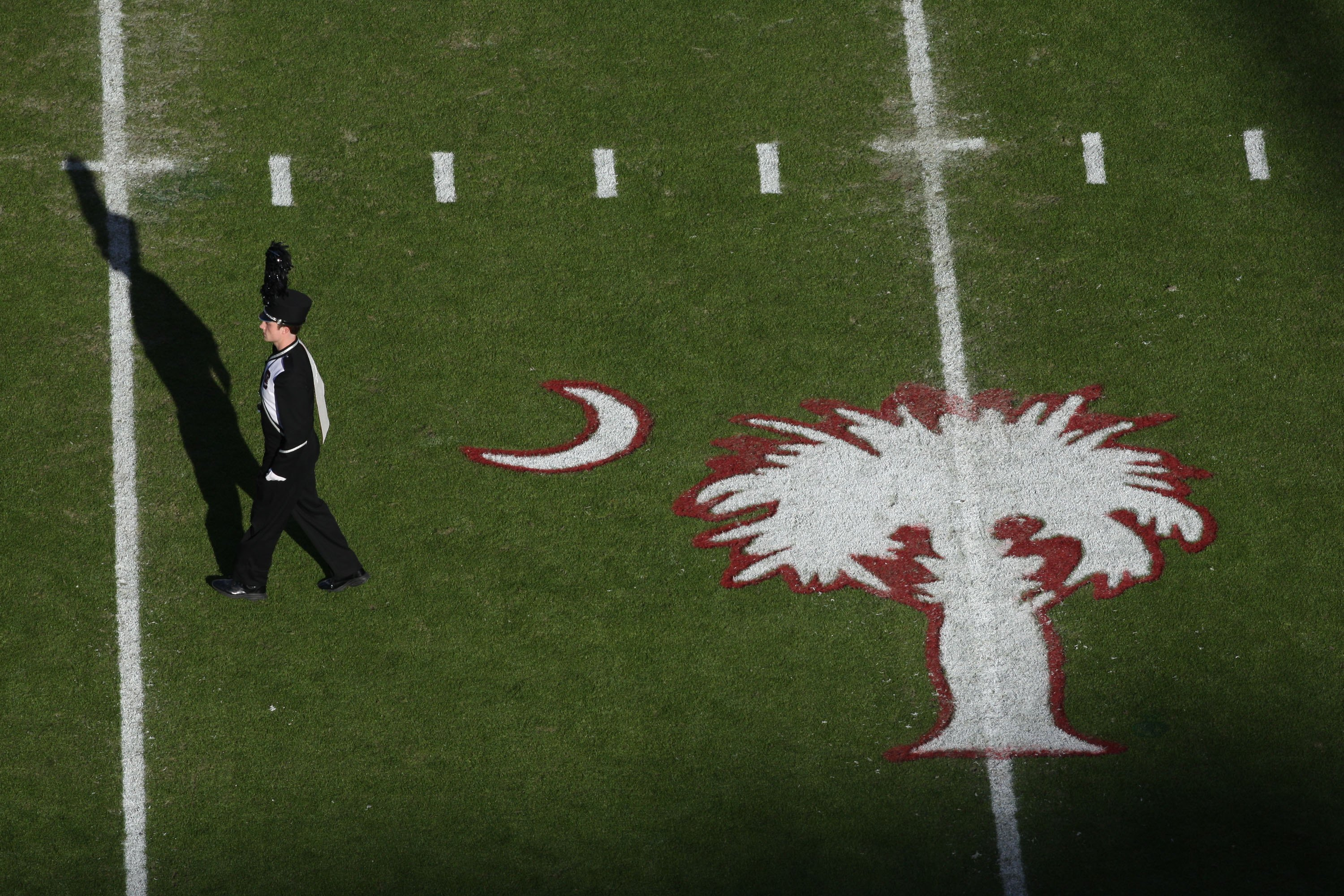 COLUMBIA, SC - NOVEMBER 14:  Overhead view of South Carolina Gamecocks marching band member and state logo during the game against the Florida Gators at Williams-Brice Stadium on November 14, 2009 in Columbia, South Carolina. (Photo by Streeter Lecka/Gett