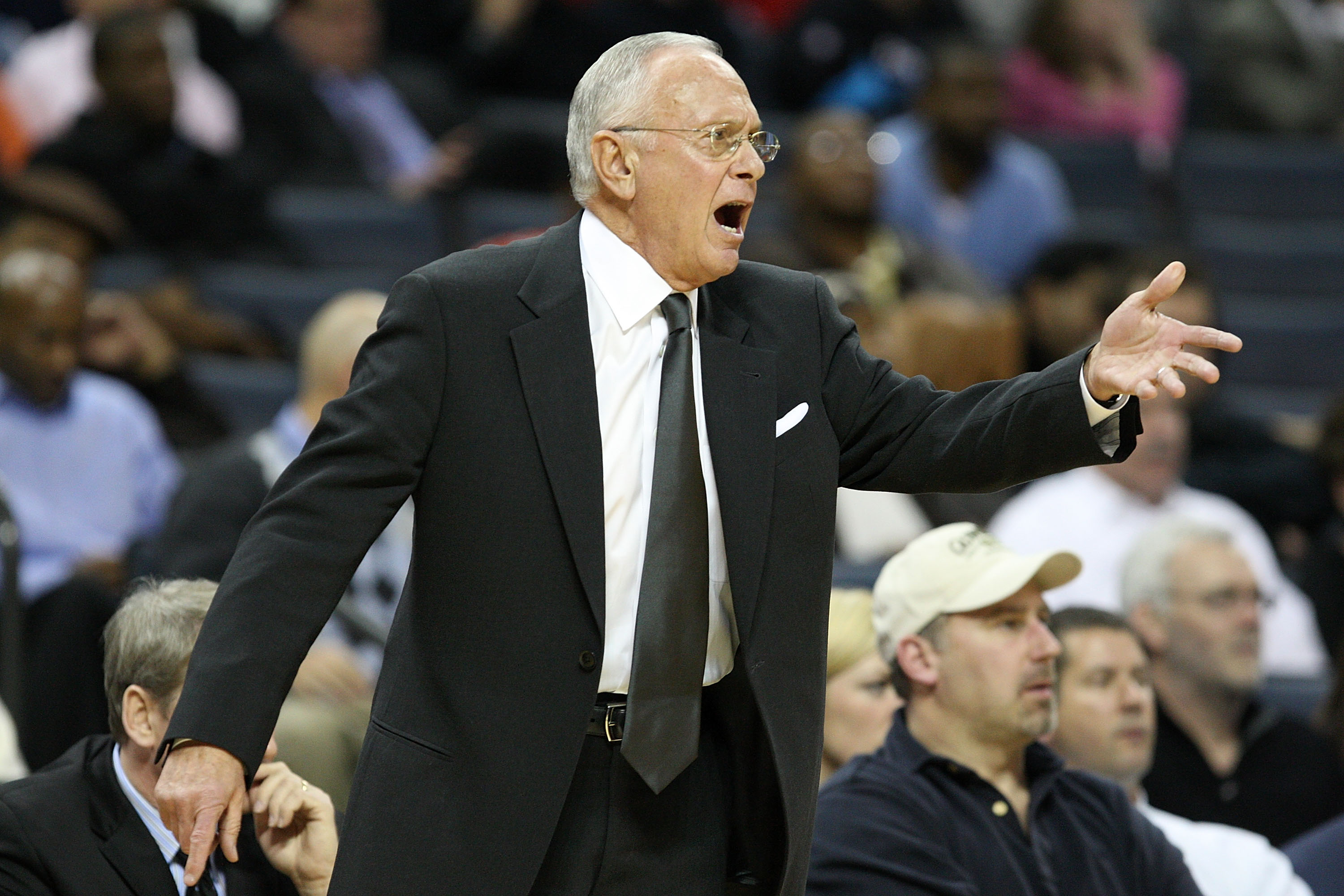 CHARLOTTE, NC - JANUARY 12:  Head coach Larry Brown of the Charlotte Bobcats reacts to a play against the Houston Rockets at Time Warner Cable Arena on January 12, 2010 in Charlotte, North Carolina.  NOTE TO USER: User expressly acknowledges and agrees th