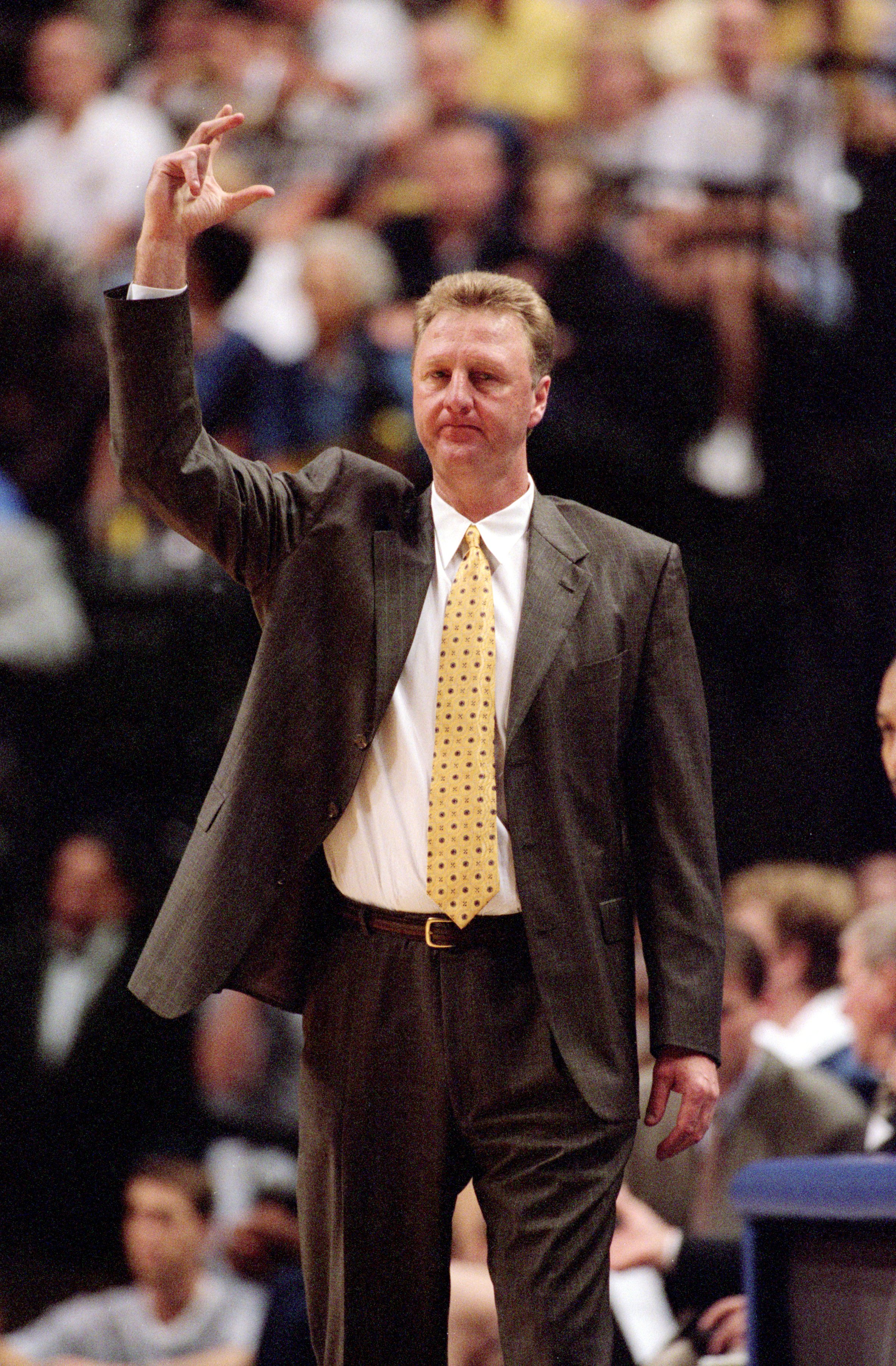 8 May 2000:  Head Coach Larry Bird  of the Indiana Pacers signals a call from the sidelines during the NBA Playoff Round Two Game against the Philadelphia 76ers  at the Conseco Fieldhouse in Indianapolis, Indiana. The Pacers defeated the 76ers 103-97.  NO