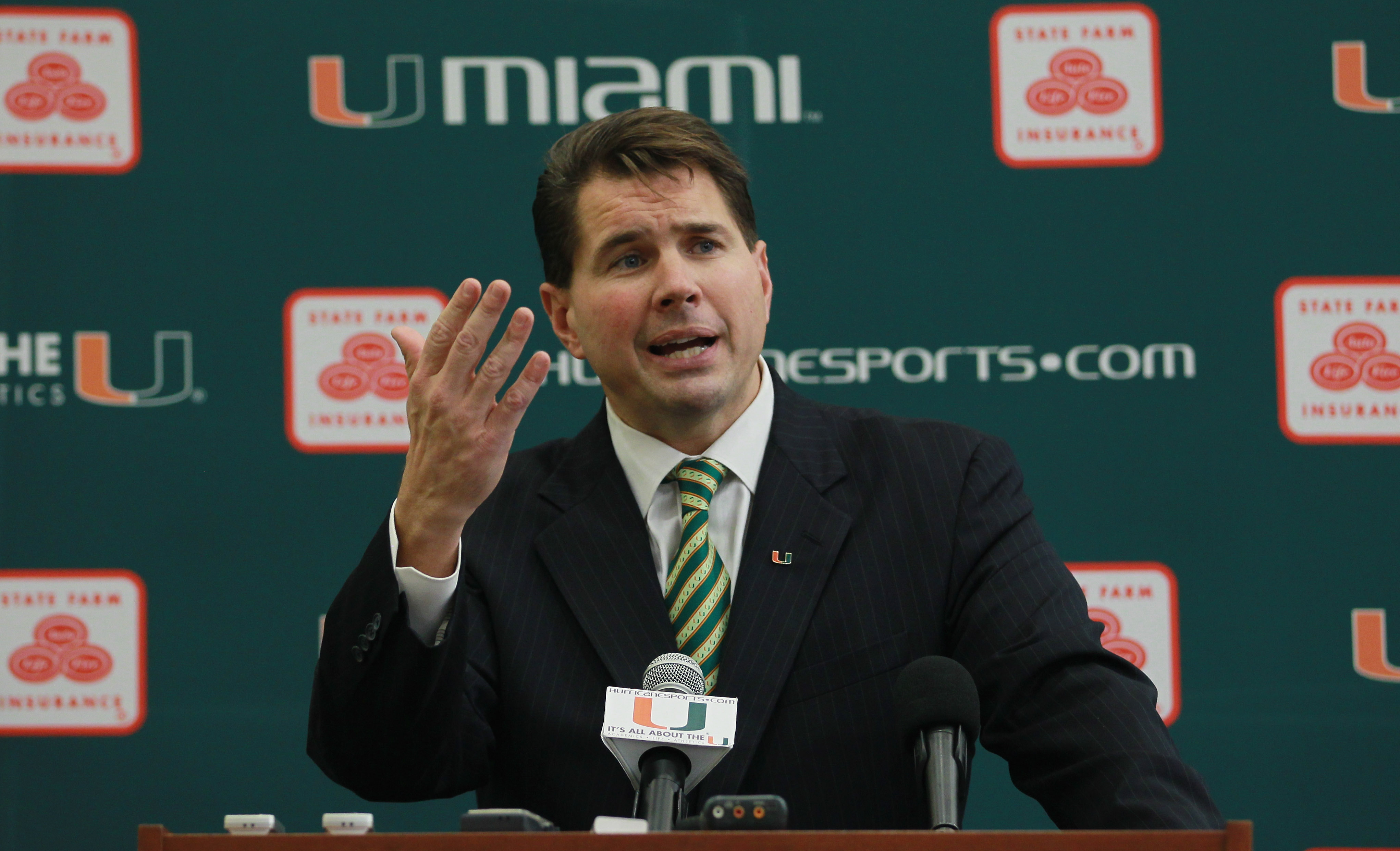 CORAL GABLES, FL - DECEMBER 13:  Former Temple University football coach Al Golden, 41, speaks to the media after being introduced as the new head coach at the University of Miami  on December 13, 2010 in Coral Gables, Florida.  Golden is replacing Randy