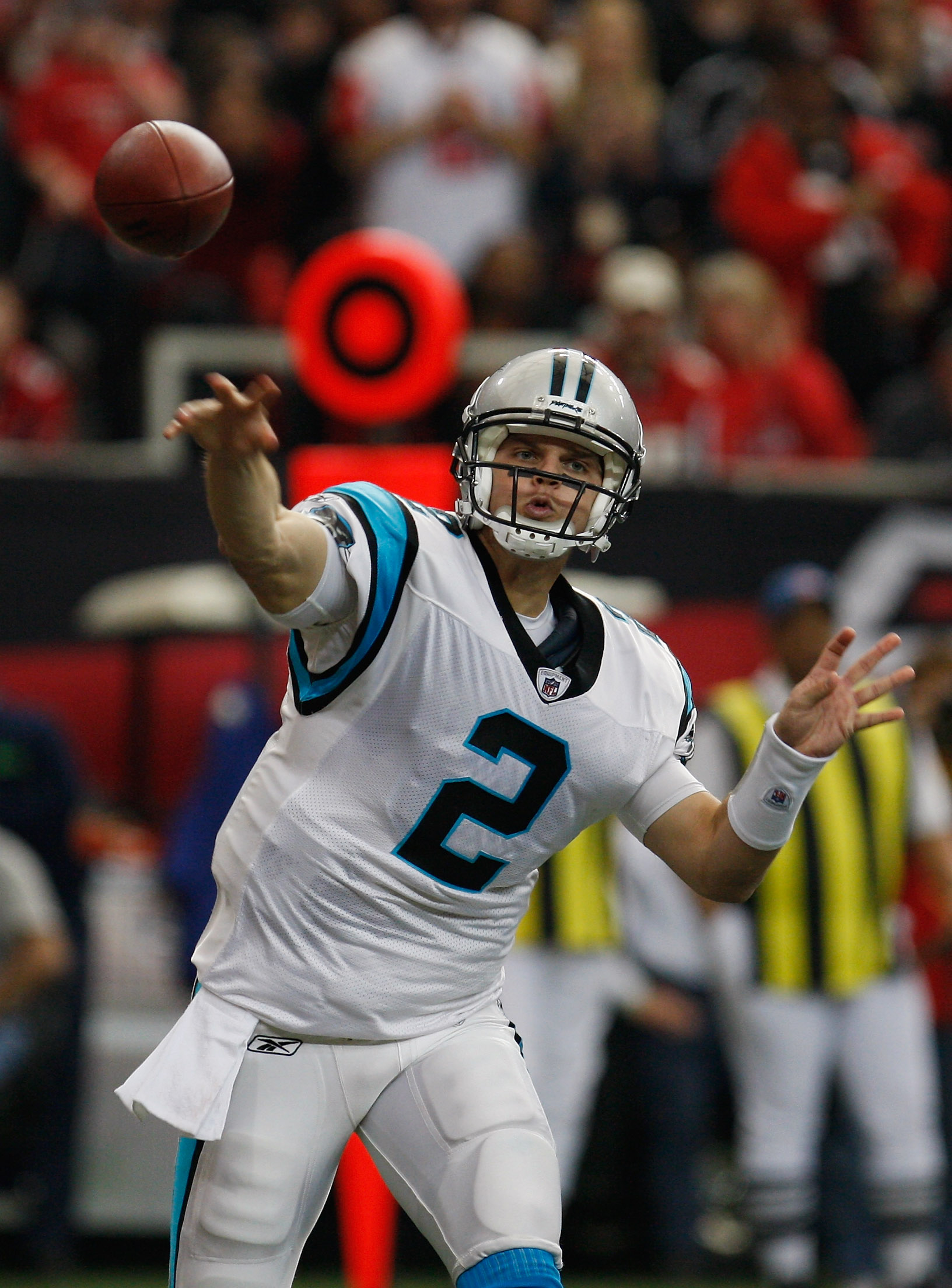 ATLANTA, GA - JANUARY 02:  Jimmy Clausen #2 of the Carolina Panthers throws a pass in the second quarter during their game against the Atlanta Falcons at the Georgia Dome on January 2, 2011 in Atlanta, Georgia.  (Photo by Scott Halleran/Getty Images)