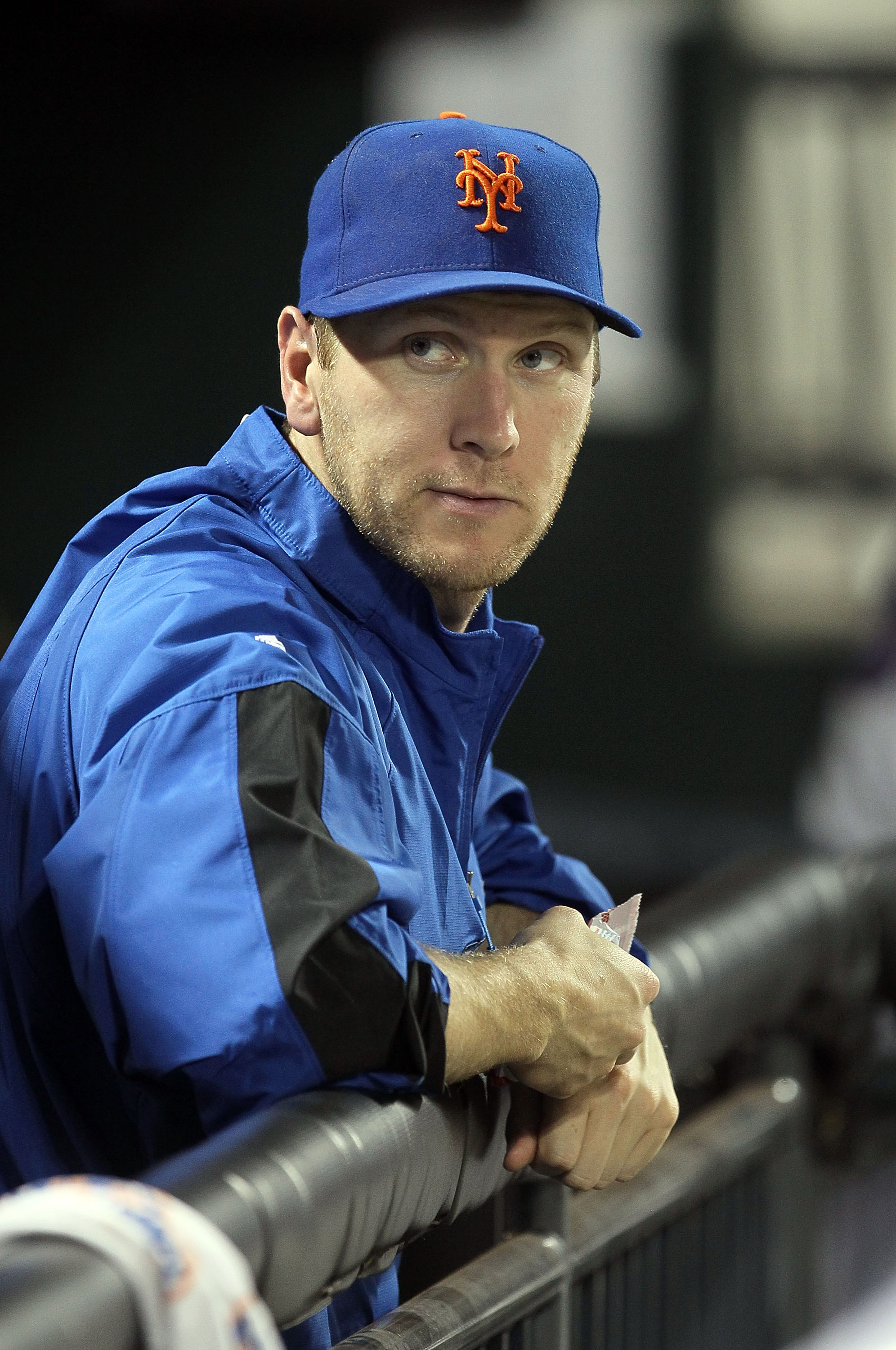 NEW YORK - AUGUST 28:  Jason Bay #44 of the New York Mets looks on from the dugout against the Houston Astros on August 28, 2010 at Citi Field in the Flushing neighborhood of the Queens borough of New York City.  (Photo by Jim McIsaac/Getty Images)