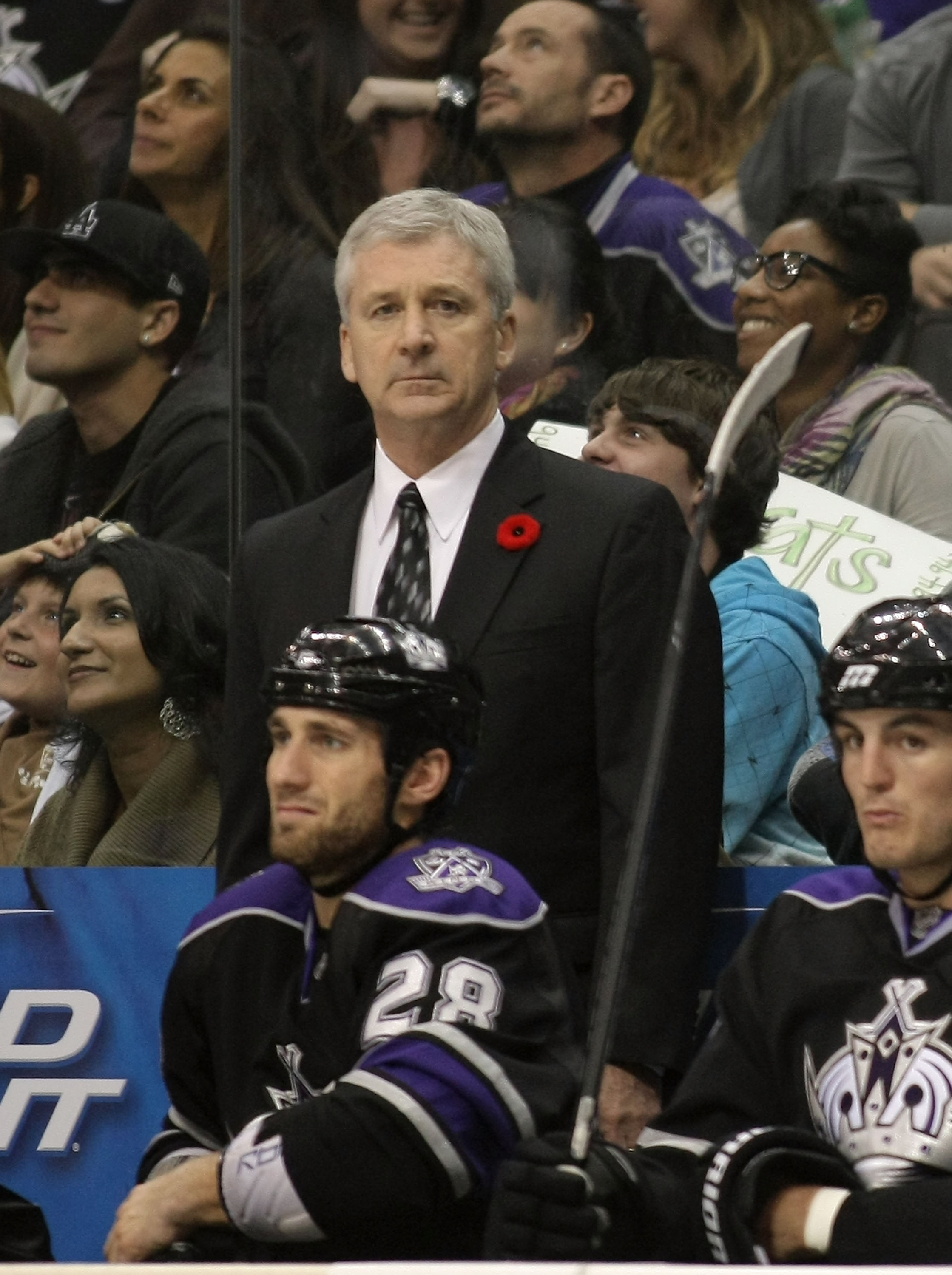 LOS ANGELES, CA - NOVEMBER 06:  Head Coach Terry Murray of the Los Angeles Kings looks on from the bench area during their NHL game against the Nashville Predators at Staples Center on November 6, 2010 in Los Angeles, California. The Kings defeated the Pr