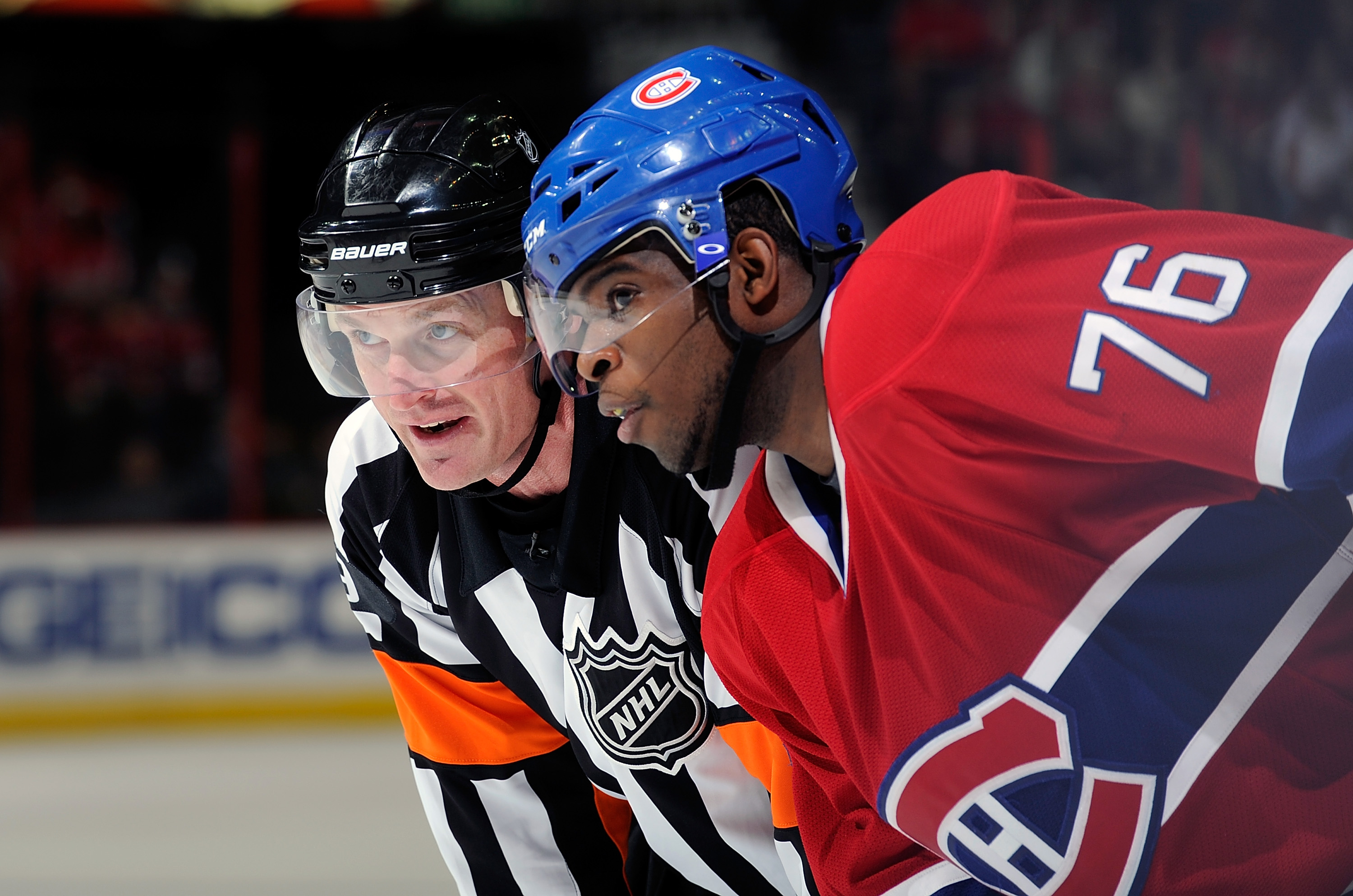 WASHINGTON, DC - FEBRUARY 01:  P.K. Subban #76 of the Montreal Canadiens talks with referee Dan O'Rourke during the game against the Washington Capitals at the Verizon Center on February 1, 2011 in Washington, DC.  (Photo by Greg Fiume/Getty Images)