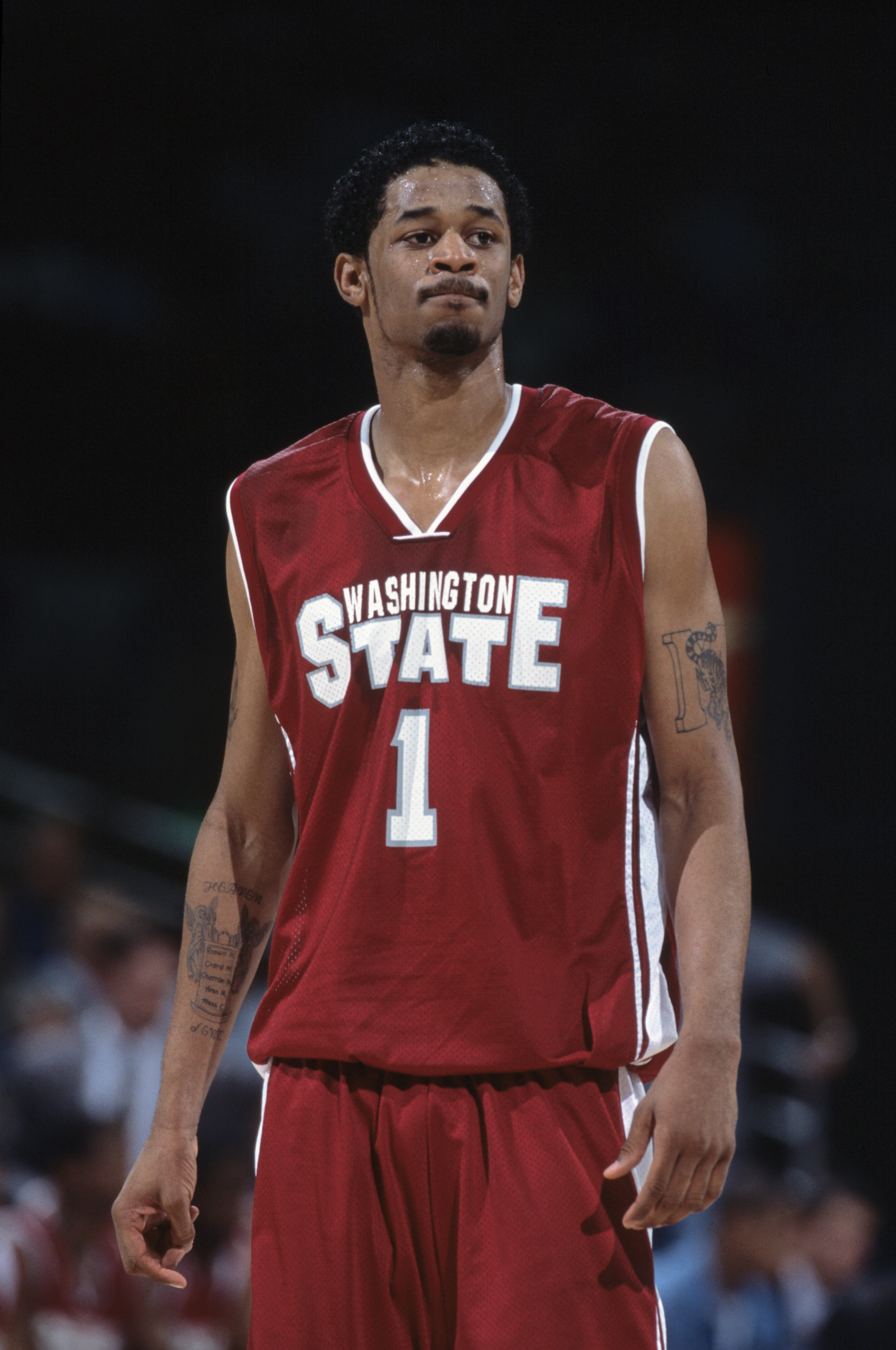 6 Jan 2002:  This is a close up of guard Marcus Moore #1 of the Washington State Cougars. It was taken during the Pac-10 conference game against the UCLA Bruins at the Pauley Pavilion in Los Angeles, California.  The Bruins defeated the Cougars 81-69.  Ma