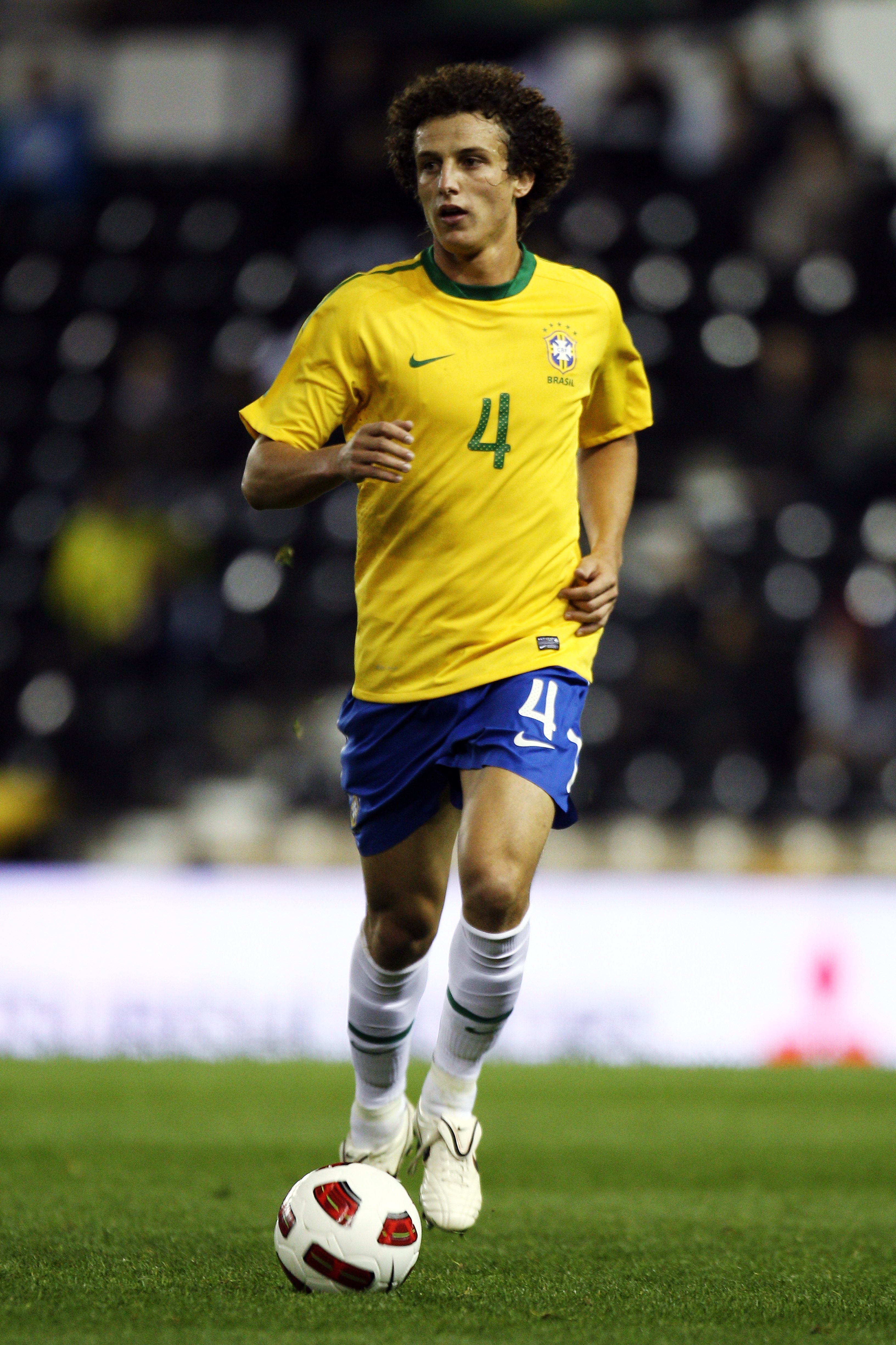 DERBY, ENGLAND - OCTOBER 11:  David Luiz of Brazil in action during the International Friendly match between Brazil and Ukraine at Pride Park Stadium on October 11, 2010 in Derby, England.  (Photo by Dean Mouhtaropoulos/Getty Images)