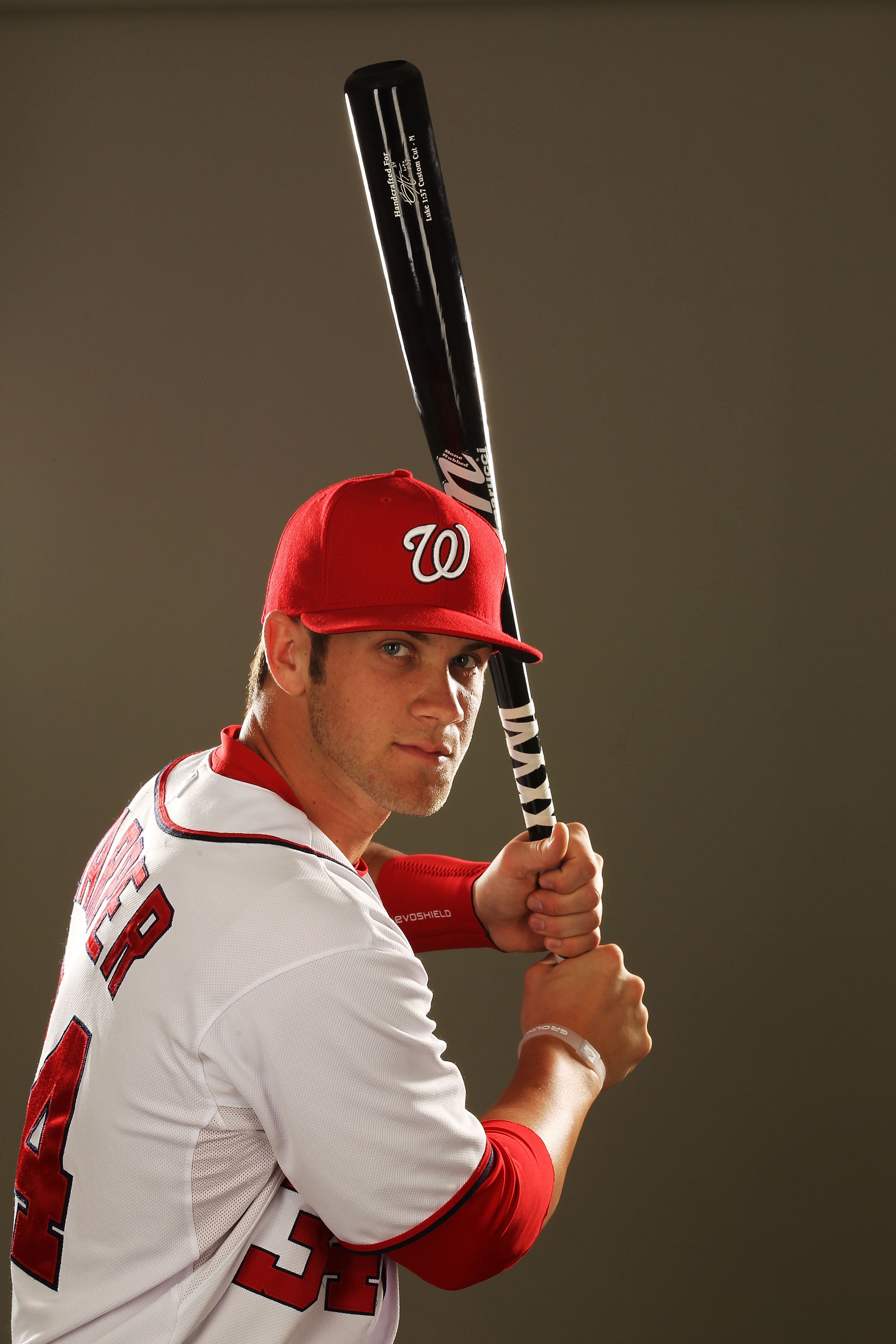 VIERA, FL - FEBRUARY 25:  Bryce Harper #34 of the Washington Nationals poses for a portrait during Spring Training Photo Day at Space Coast Stadium on February 25, 2011 in Viera, Florida.  (Photo by Al Bello/Getty Images)