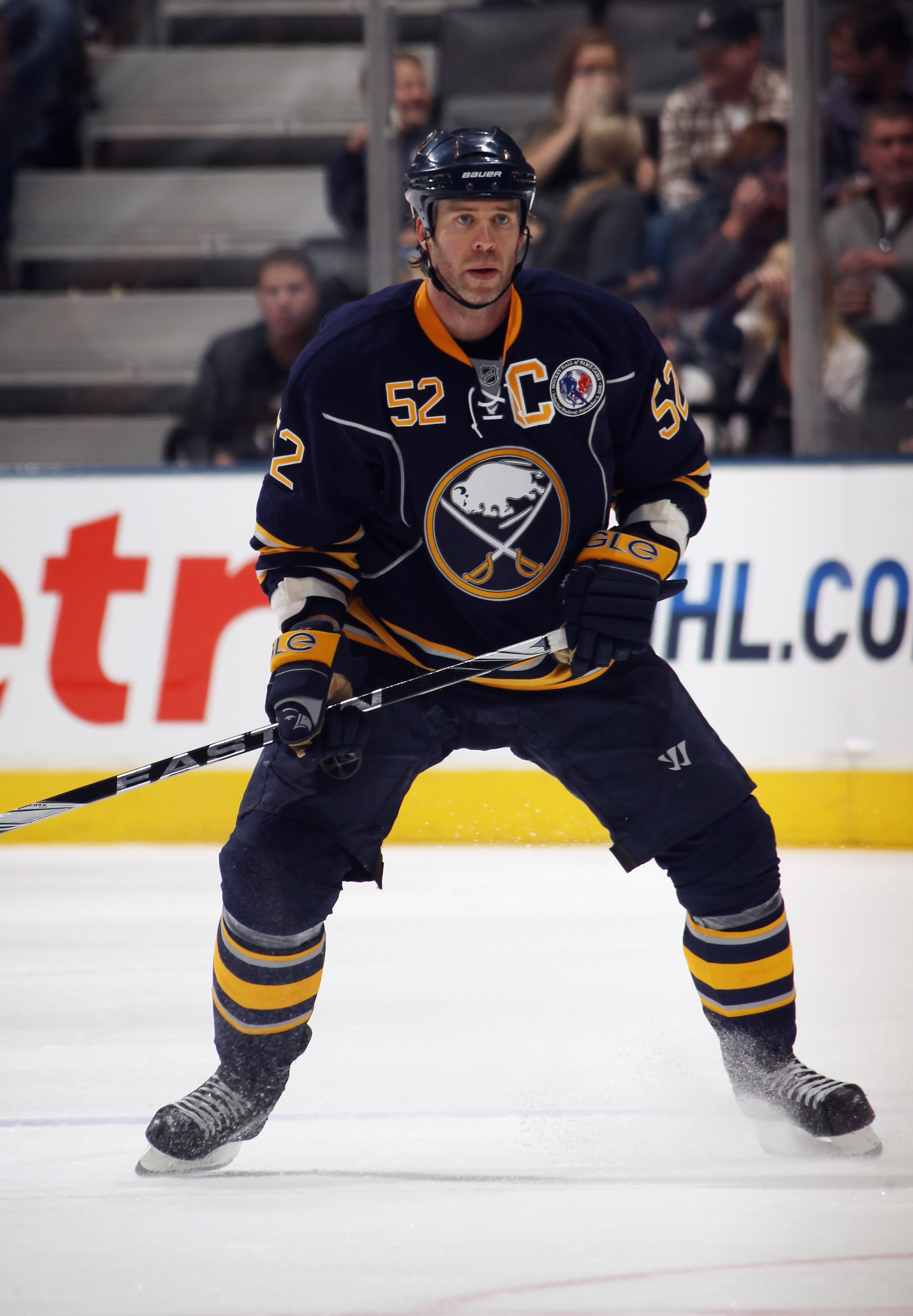 TORONTO, ON - NOVEMBER 06:  Craig Rivet #52 of the Buffalo Sabres skates against the Toronto Maple Leaf at the Air Canada Centre on November 6, 2010 in Toronto, Canada.  (Photo by Bruce Bennett/Getty Images)