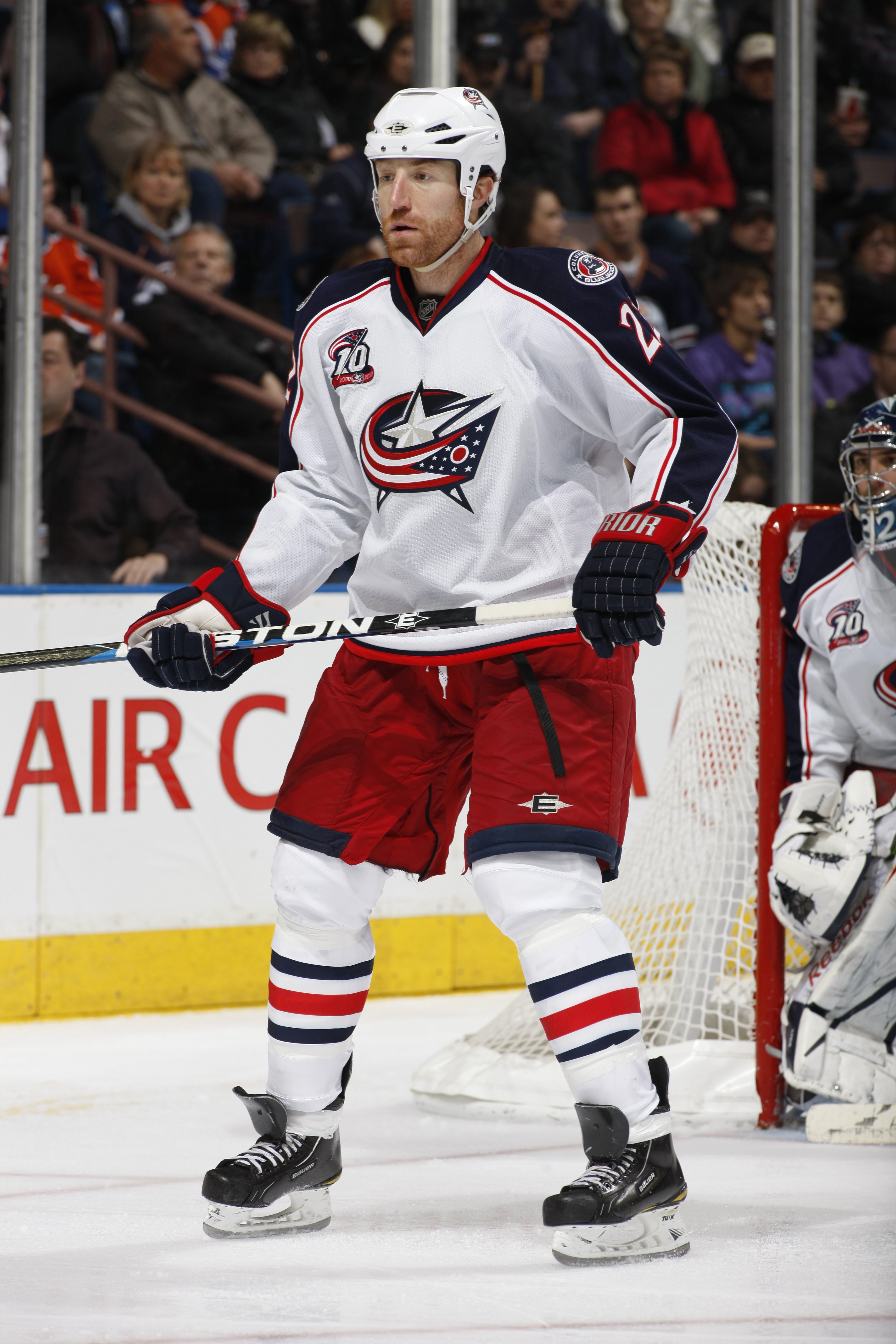 EDMONTON, CANADA - DECEMBER 16: Mike Commodore #22 of the Columbus Blue Jackets skates against the Edmonton Oilers on December 16, 2010 at Rexall Place in Edmonton, Alberta, Canada. (Photo by Dale MacMillan/Getty Images)