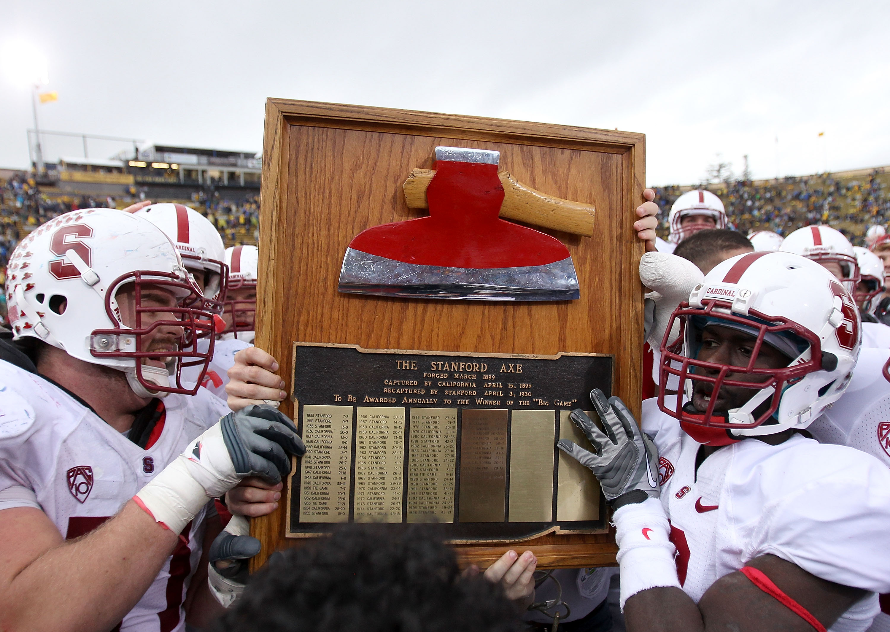 BERKELEY, CA - NOVEMBER 20:  The Stanford Cardinal celebrate with 'The Axe' after beating the California Golden Bears at California Memorial Stadium on November 20, 2010 in Berkeley, California.  (Photo by Ezra Shaw/Getty Images)