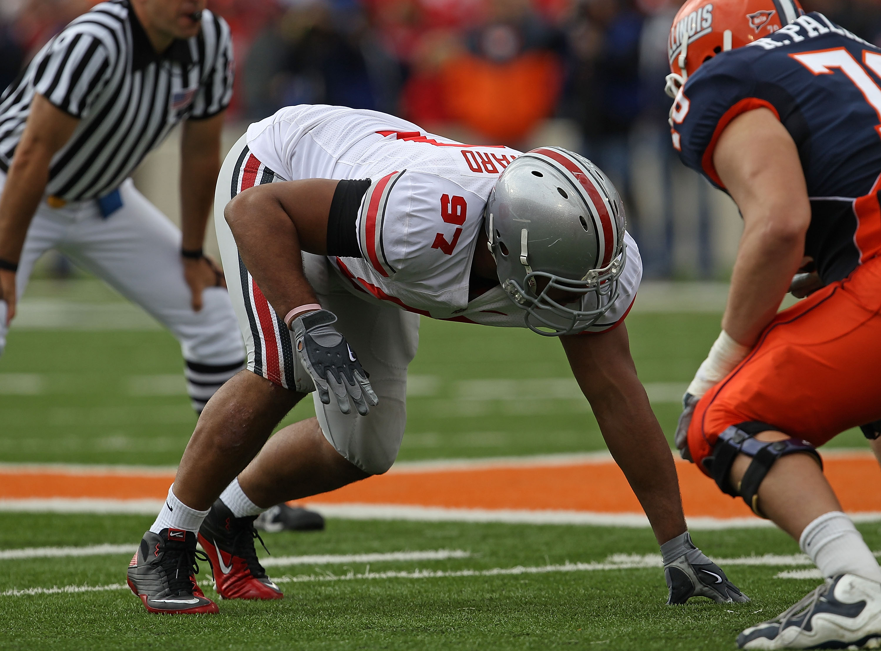 CHAMPAIGN, IL - OCTOBER 02: Cameron Heyward #97 of the Ohio State Buckeyes awaits the start of play against the Illinois Fighting Illini at Memorial Stadium on October 2, 2010 in Champaign, Illinois. Ohio State defeated Illinois 24-13. (Photo by Jonathan