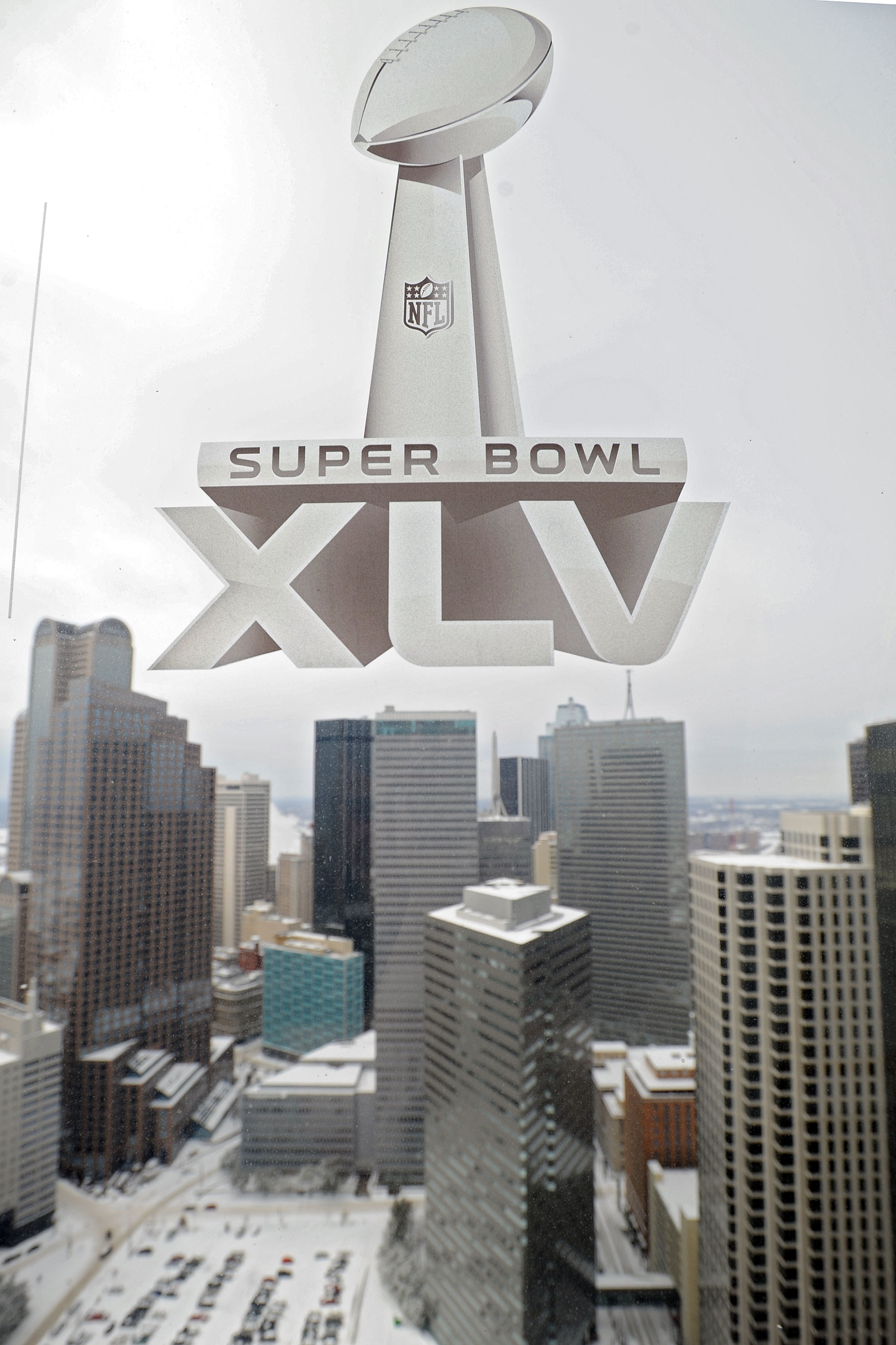 DALLAS, TX - FEBRUARY 04:  A Super Bowl XLV sticker is seen on a window over looking downtown Dallas on February 4, 2011 in Dallas, Texas. More than four inches of snow fell overnight in the North Texas area. The Green Bay Packers will play the Pittsburgh