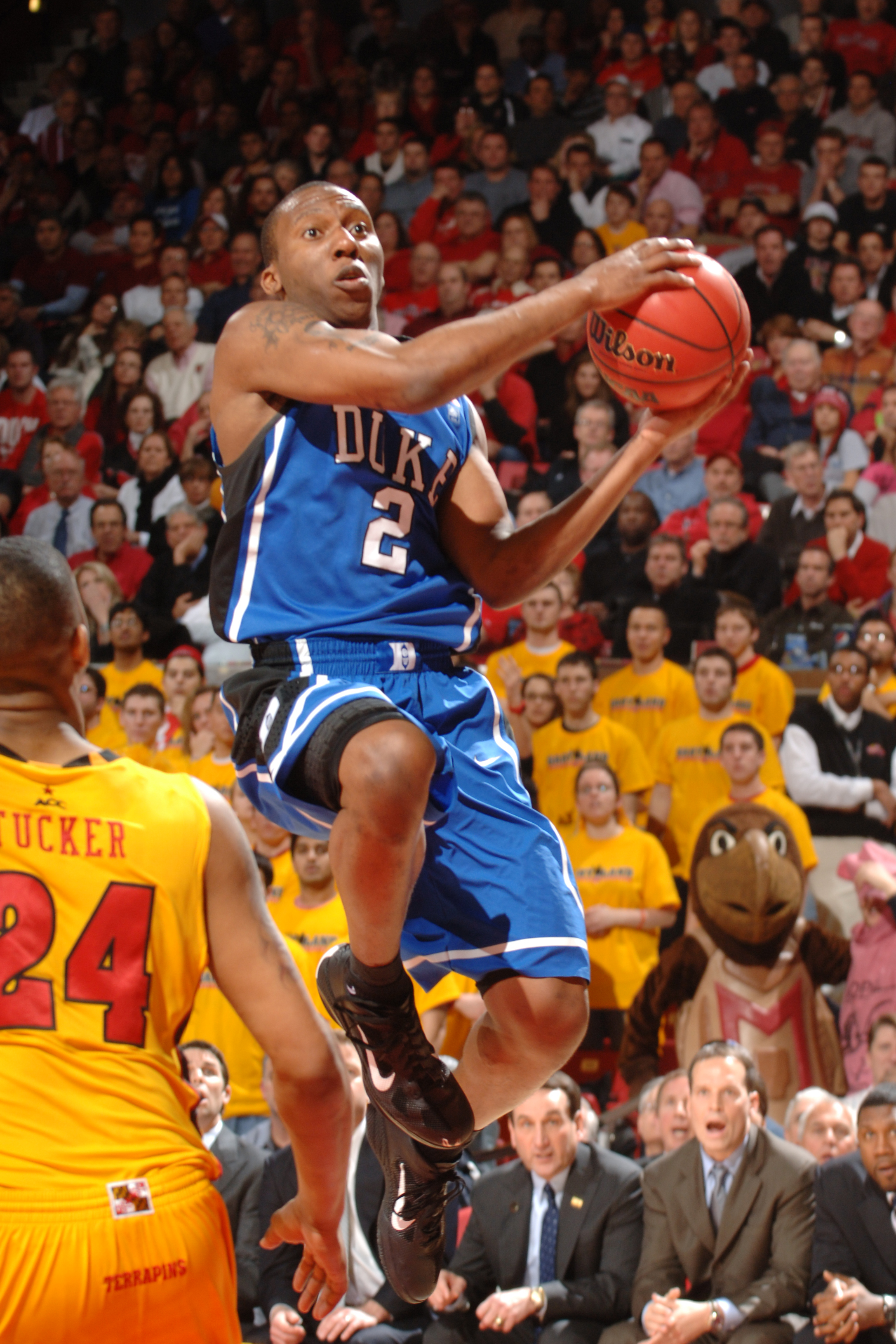 COLLEGE PARK, MD - FEBRUARY 2:  Nolan Smith #2 of the Duke Blue Devils drives to the basket during a college basketball game against the Maryland Terrapins on February 2, 2011 at the Comcast Arena in College Park, Maryland.  The Blue Devils won 80-62.  (P