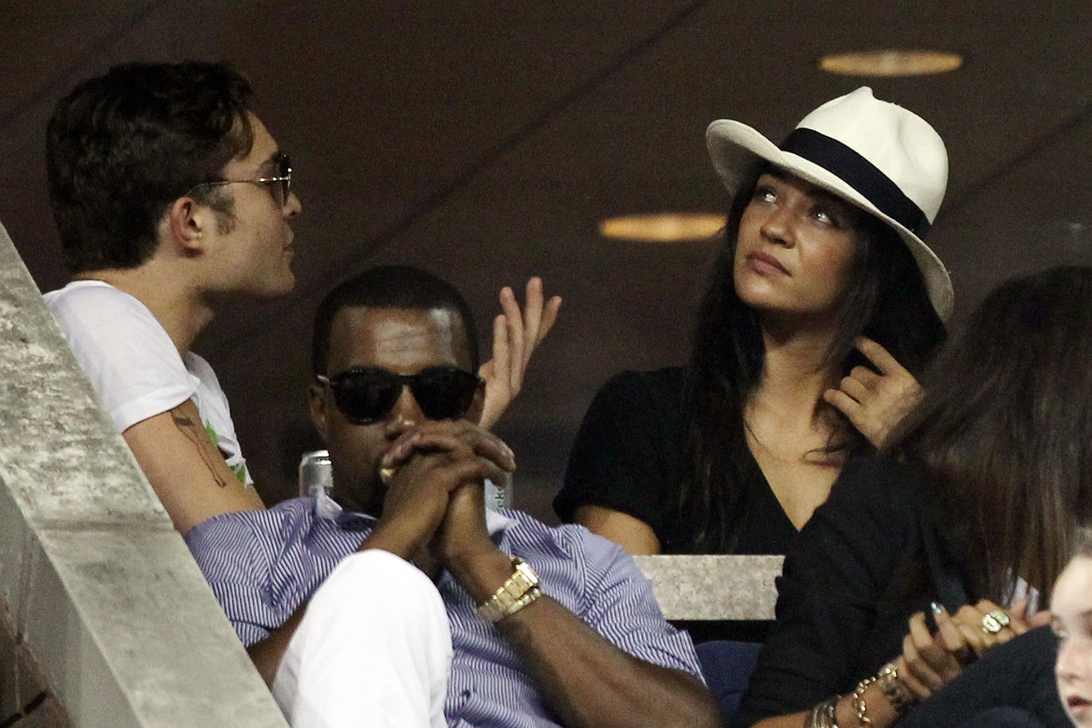 NEW YORK - SEPTEMBER 01:  (L-R) Rapper Kanye West and actress Jessica Szohr attend day three of the 2010 U.S. Open at the USTA Billie Jean King National Tennis Center on September 1, 2010 in the Flushing neighborhood of the Queens borough of New York City