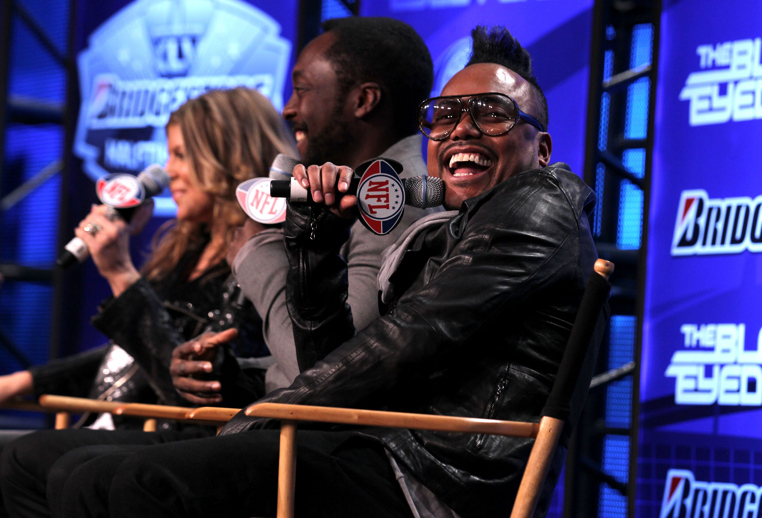 DALLAS, TX - FEBRUARY 03:  (L-R) Fergie, will.i.am and apl.de.ap of the Black Eyed Peas speak at the Bridgestone Super Bowl XLV Halftime Show press conference on February 3, 2011 in Dallas, Texas.  (Photo by Christopher Polk/Getty Images)