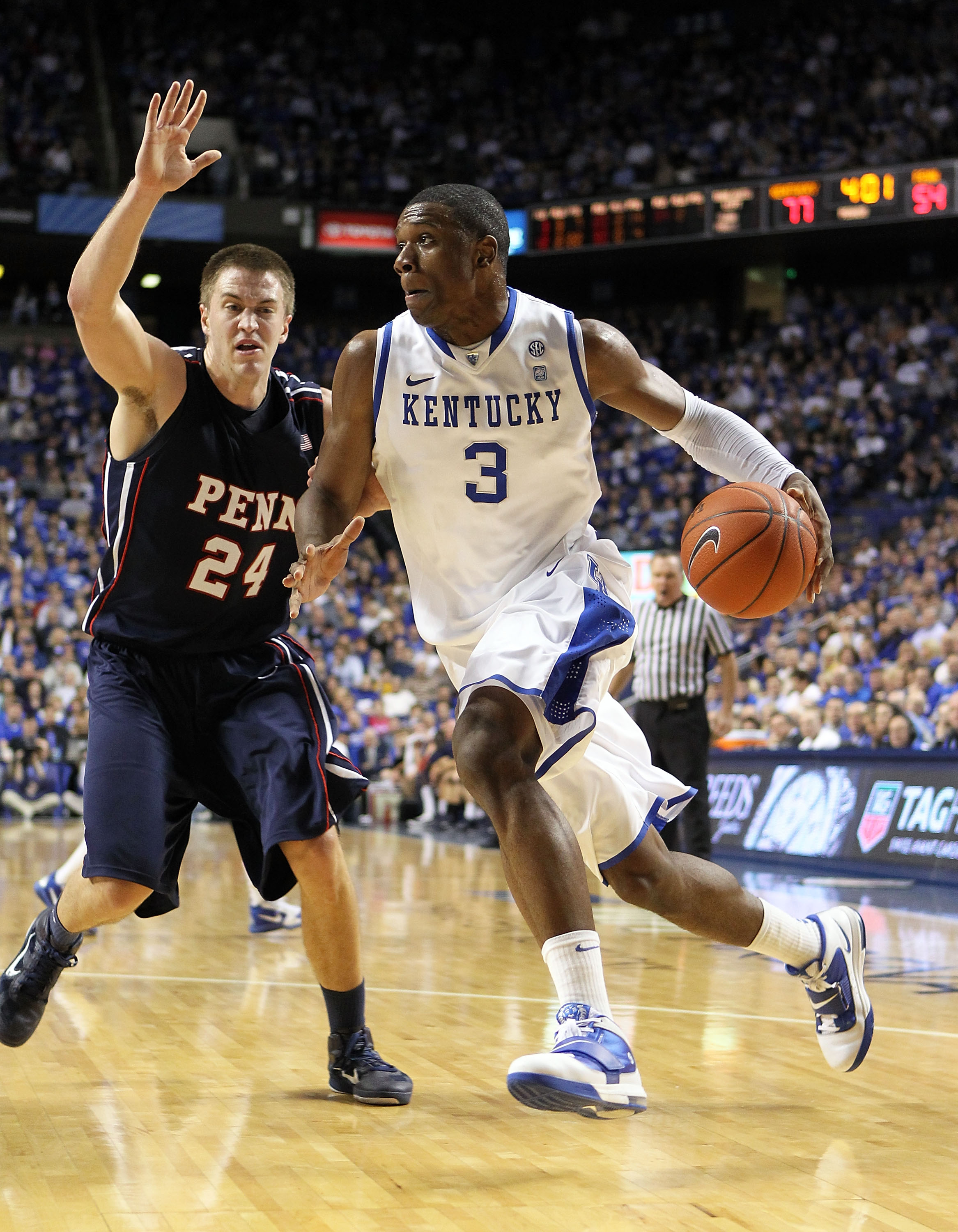 LEXINGTON, KY - JANUARY 03: Terrence Jones #3 of the Kentucky Wildcats dribbles the ball while defended by Jack Eggleston #24 of the Penn Quakers at Rupp Arena on January 3, 2011 in Lexington, Kentucky.  Kentucky won 86-62.  (Photo by Andy Lyons/Getty Ima